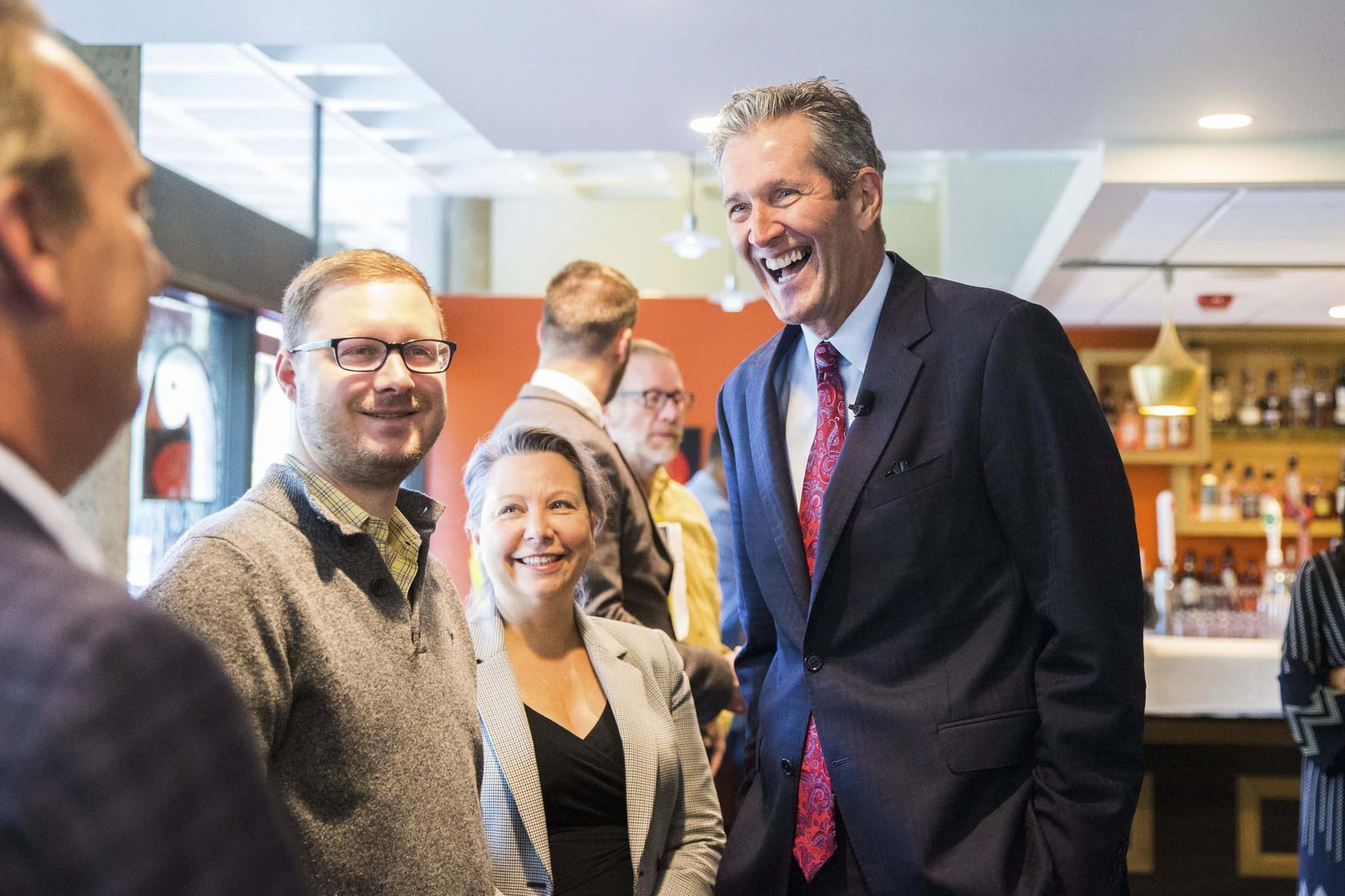 MIKAELA MACKENZIE / WINNIPEG FREE PRESSPC leader Brian Pallister chats with supporters before presenting his costed platform at Prairie's Edge restaurant in Kildonan Park Tuesday.</p>