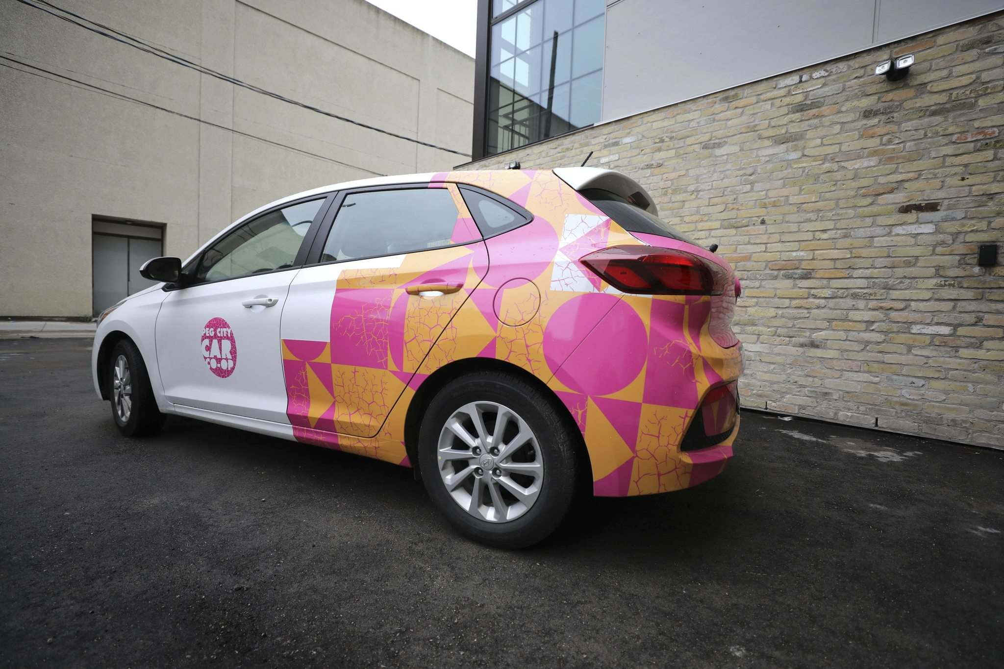 Peg City Car Co-op has teamed up with Wall Mural & Culture Festival by having one of their cars painted. (Ruth Bonneville / Winnipeg Free Press)</p>