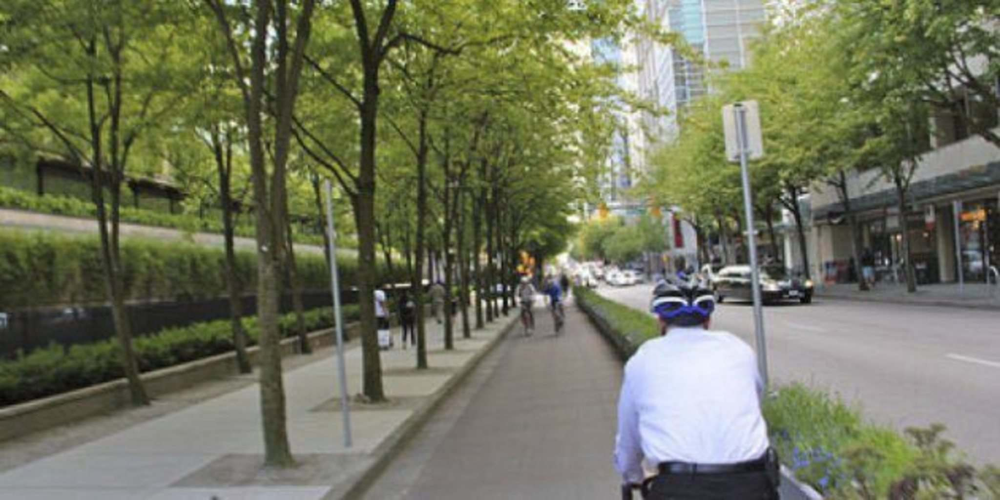 Anders Swanson/Twitter </p><p>The plastic pylons protecting Pembina Highway cyclists don't cut it, a city report admits. Cycling advocates are happy improvements are being considered and Trails Winnipeg executive director Anders Swanson suggests the next step might be flower-protected lanes like this one in Vancouver.</p>