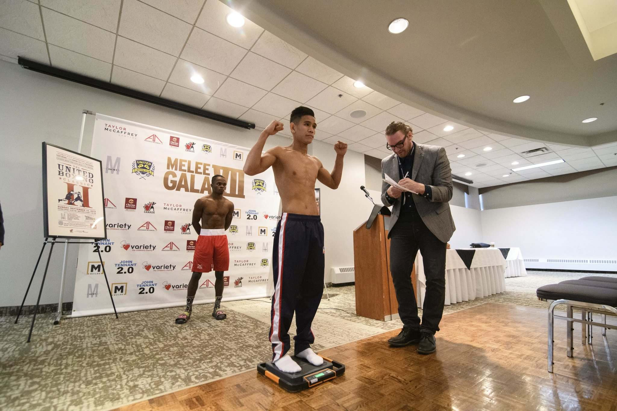 Mike Sudoma / Winnipeg Free Press </p><p>Filipino flyweight Marvin Tabamo makes his weight during Wednesday's weigh-in.</p>