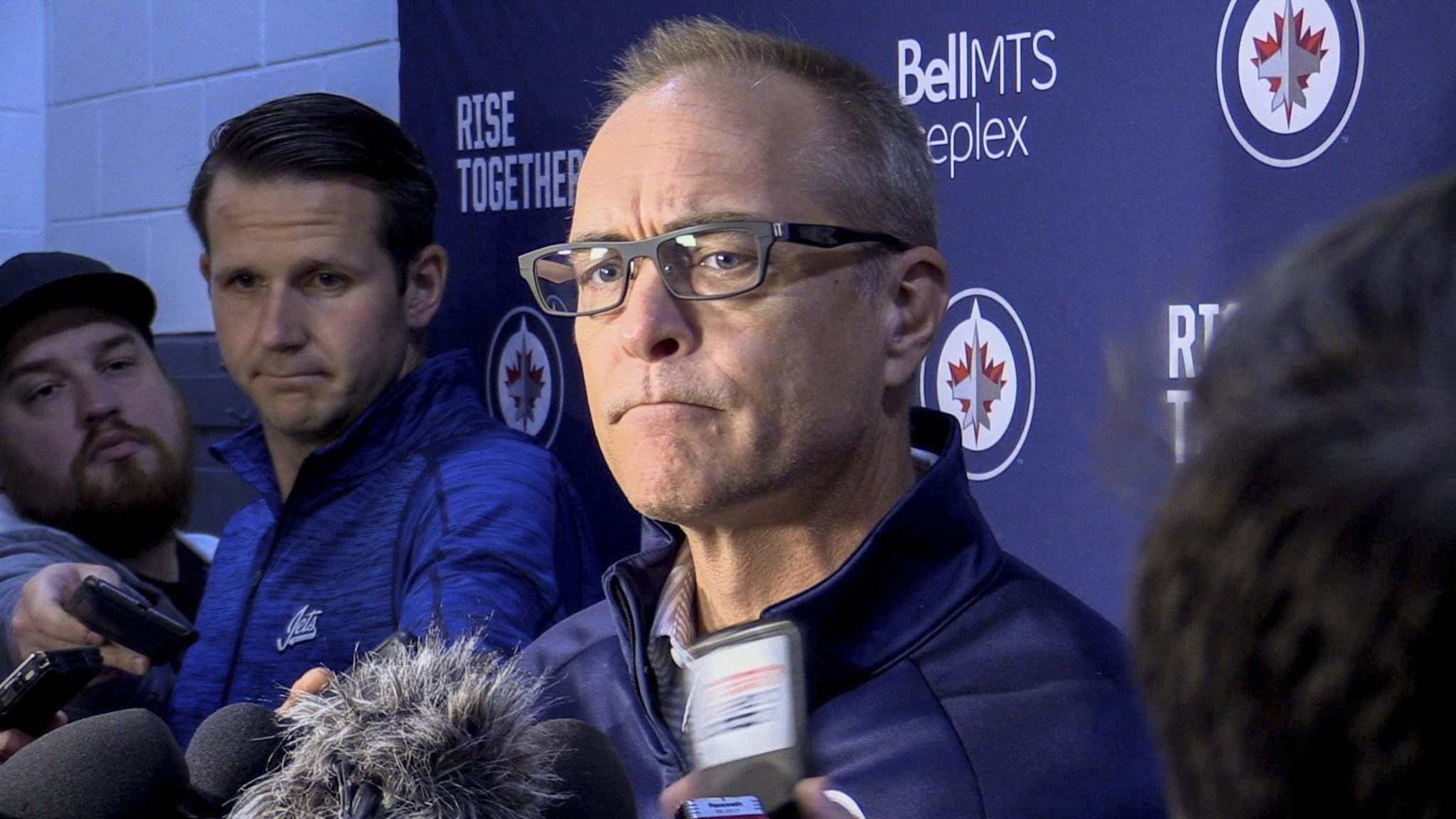 MIKE DEAL / WINNIPEG FREE PRESS</p><p>Jets head coach Paul Maurice talks to the media on Friday as the Jets begin training camp.</p>