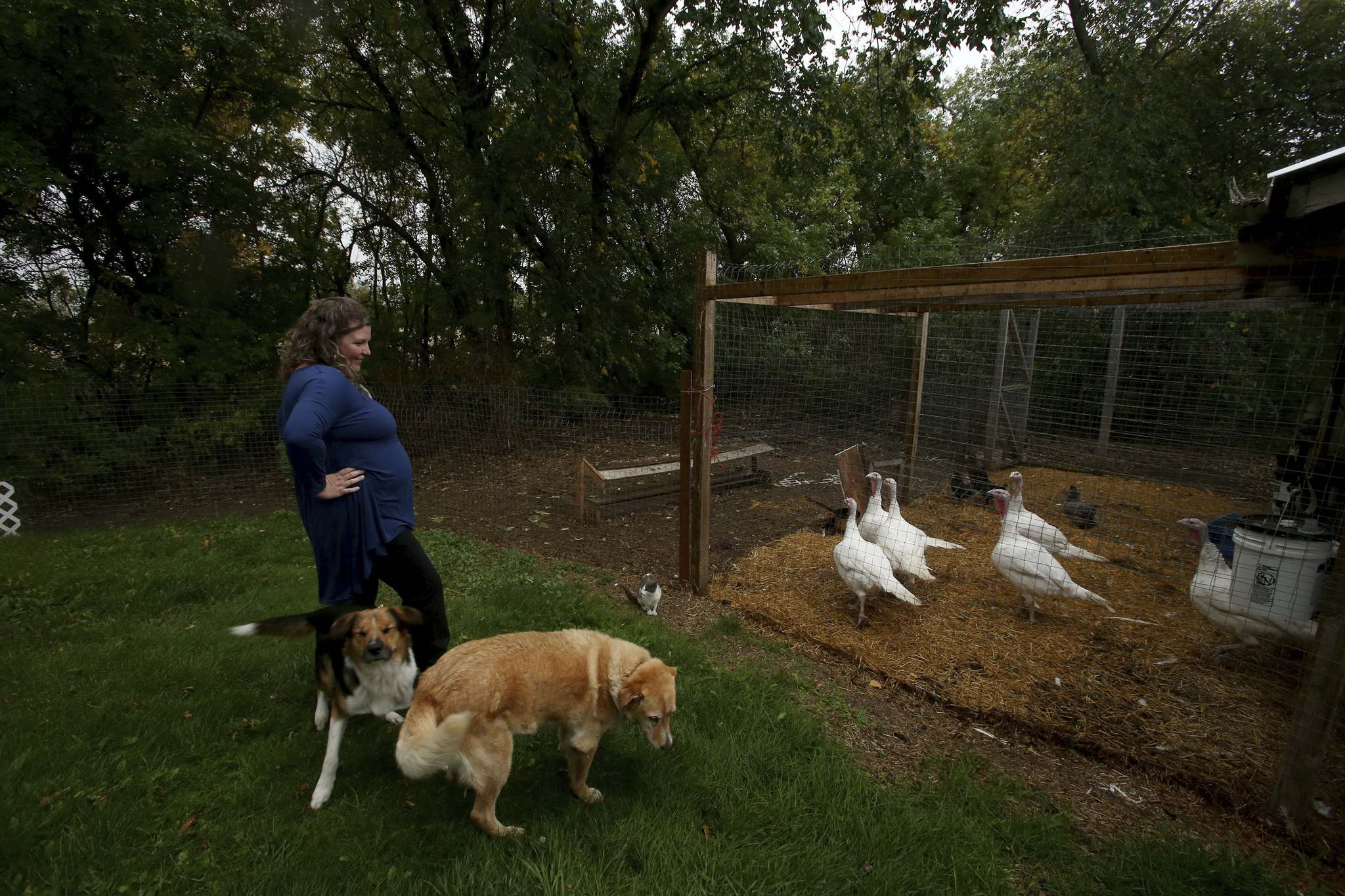 SHANNON VANRAES / WINNIPEG FREE PRESS</p><p>Mary-Jo Thiessen spends time with some of the animals on the family's hobby farm near Elie.</p>