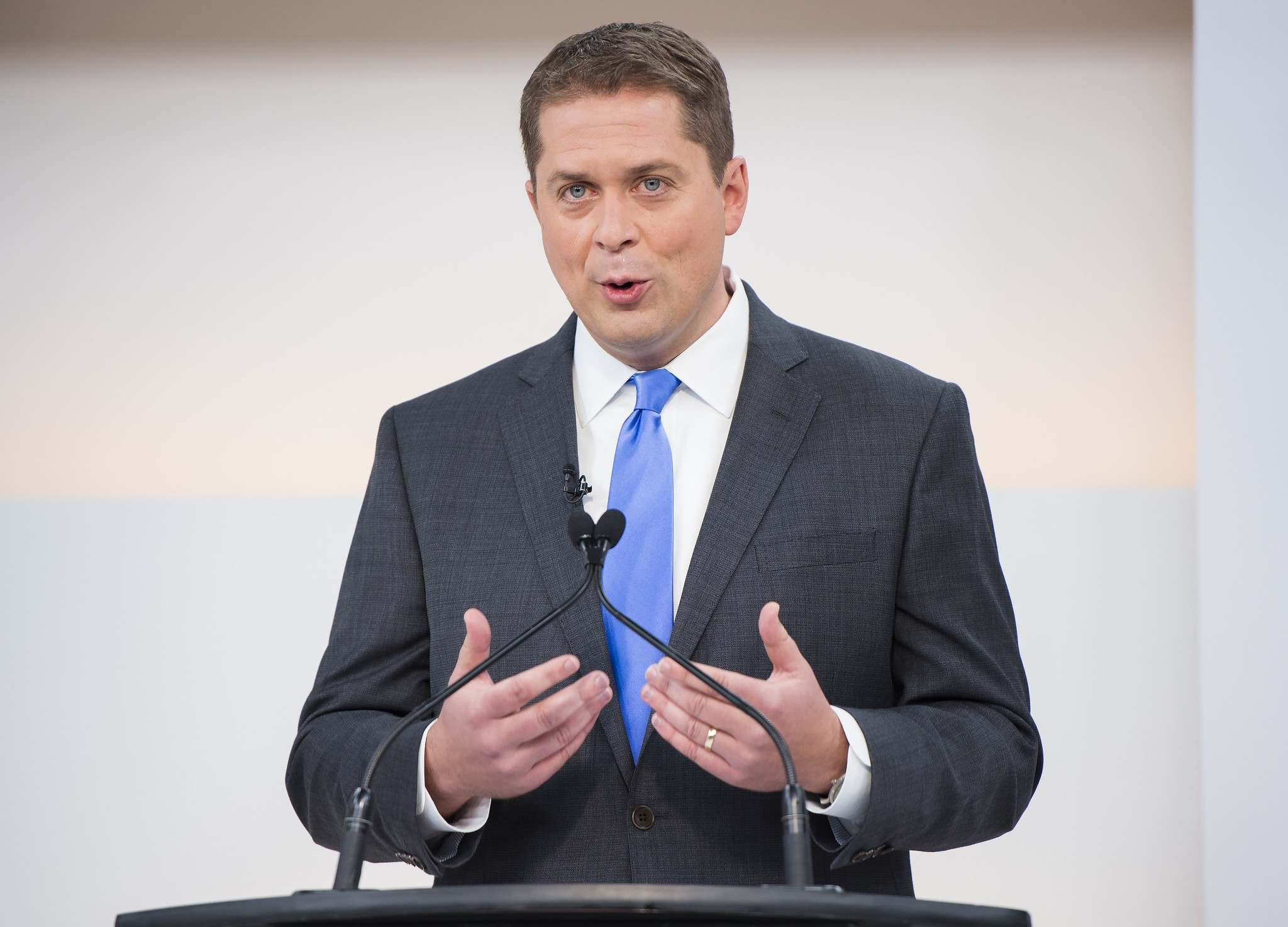 THE CANADIAN PRESS/Frank Gunn</p><p>Conservative Leader Andrew Scheer speaks during the National Leaders Debate in Toronto on Thursday.</p>