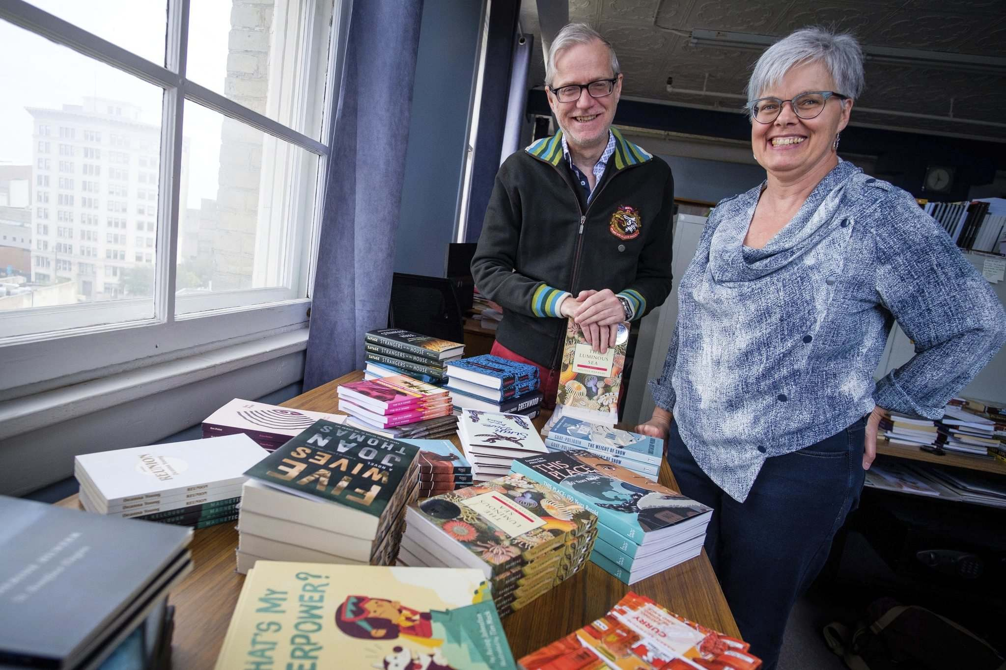 Daniel Crump / Winnipeg Free Press</p><p>Programming associate/audience development coordinator Bruce Symaka (left) and director Charlene Diehl are excited about the range of authors participating in Thin Air 2019: Winnipeg International Writers Festival, which runs from Sept. 22-30.</p>