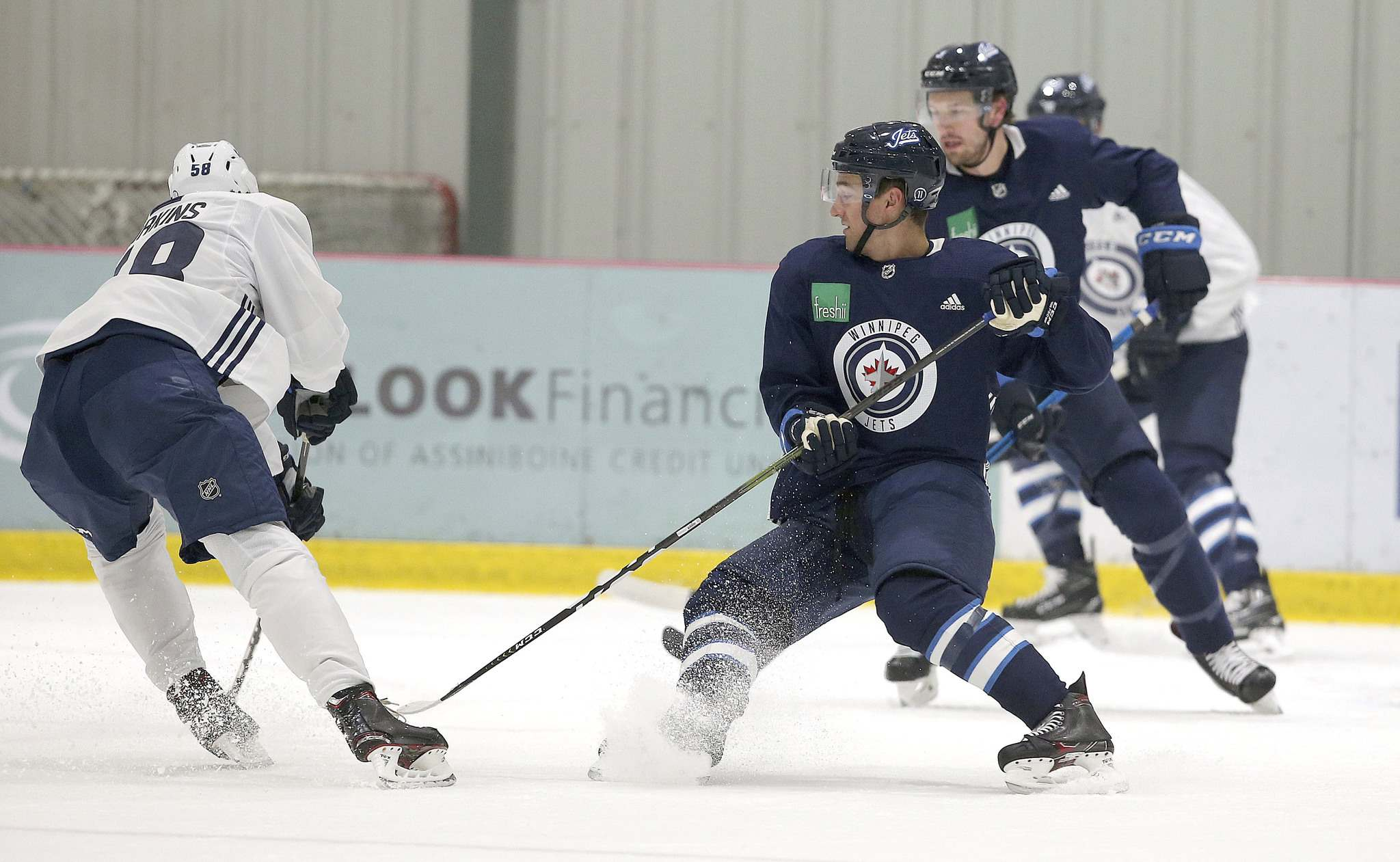 Defenceman Neal Pionk skates during Winnipeg Jets practice at the Bell MTS Iceplex. (Jason Halstead / Winnipeg Free Press)