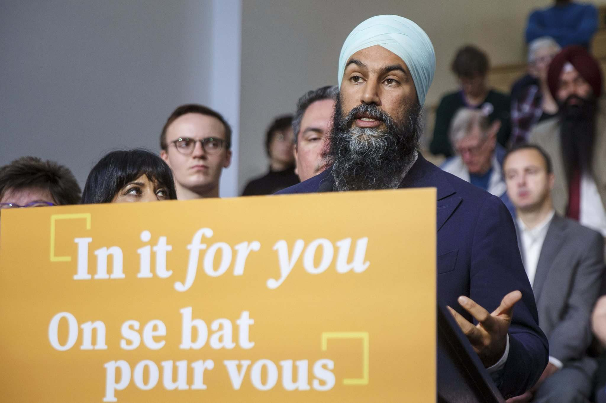 MIKE DEAL / WINNIPEG FREE PRESS files</p><p>NDP Leader Jagmeet Singh addresses the crowd during a stop at the University of Winnipeg on Sept. 24.</p>