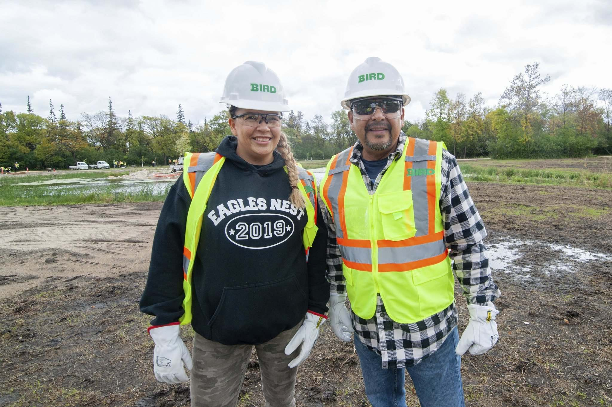 Mike Sudoma / Winnipeg Free Press</p><p>Elissa Gabriel (left) and Fred Beardy (right) of Eagles Nest on the construction site of the future Indigenous Gardens under construction in Assiniboine Park.</p>