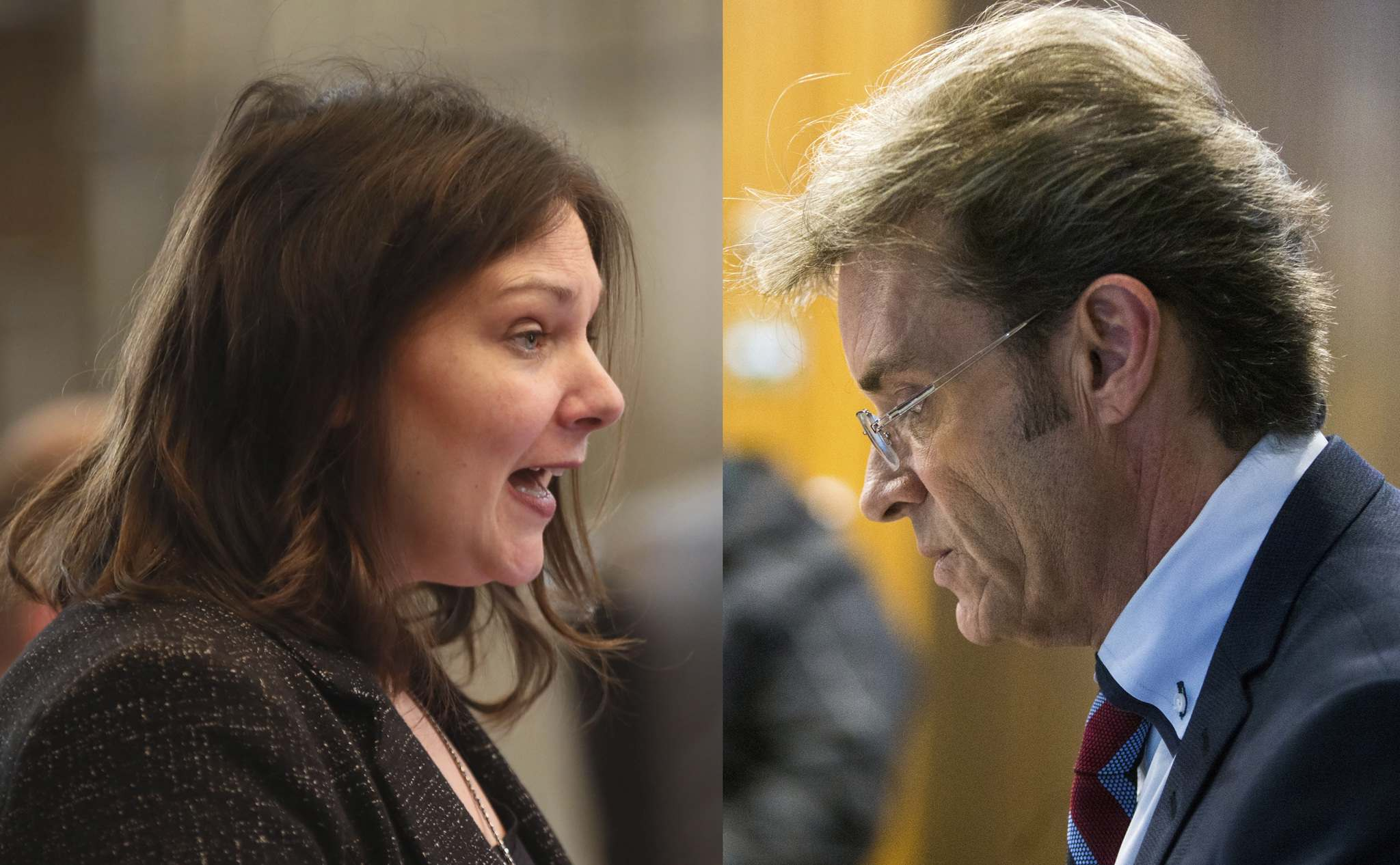 Winnipeg city councillors Sherri Rollins, left, and Kevin Klein got involved in a shouting match Monday, over lingering questions in the city building inspectors scandal.</p>