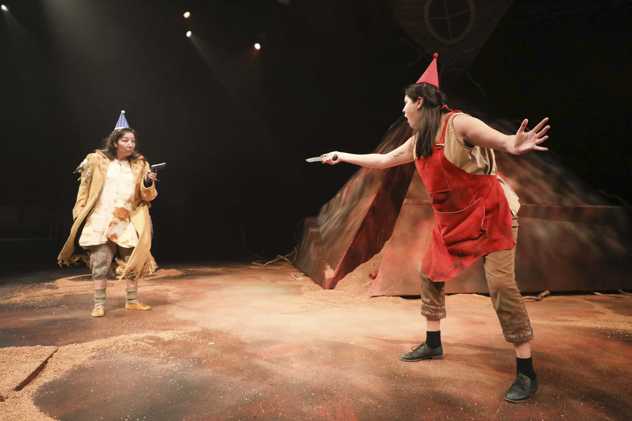 Agatu (Tracey Nepinak, left) and Head Full of Lice (Kathleen MacLean) have to figure out the world they live in. (Leif Norman)
