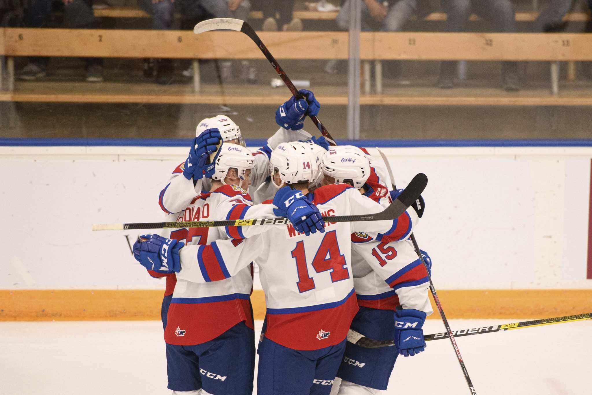 The Oil Kings celebrate their second of the three goals scored against the Winnipeg Ice in the first period Friday night. (Mike Sudoma / Winnipeg Free Press)</p>