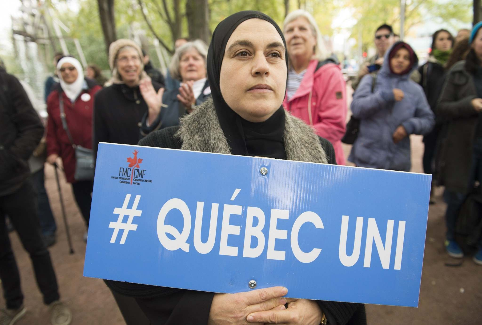 Demonstrators in Montreal vent their anger against Bill 21 on Oct. 6. The Quebec law bans some public-sector employees from wearing religious symbols in the workplace. (Graham Hughes / The Canadian Press files)