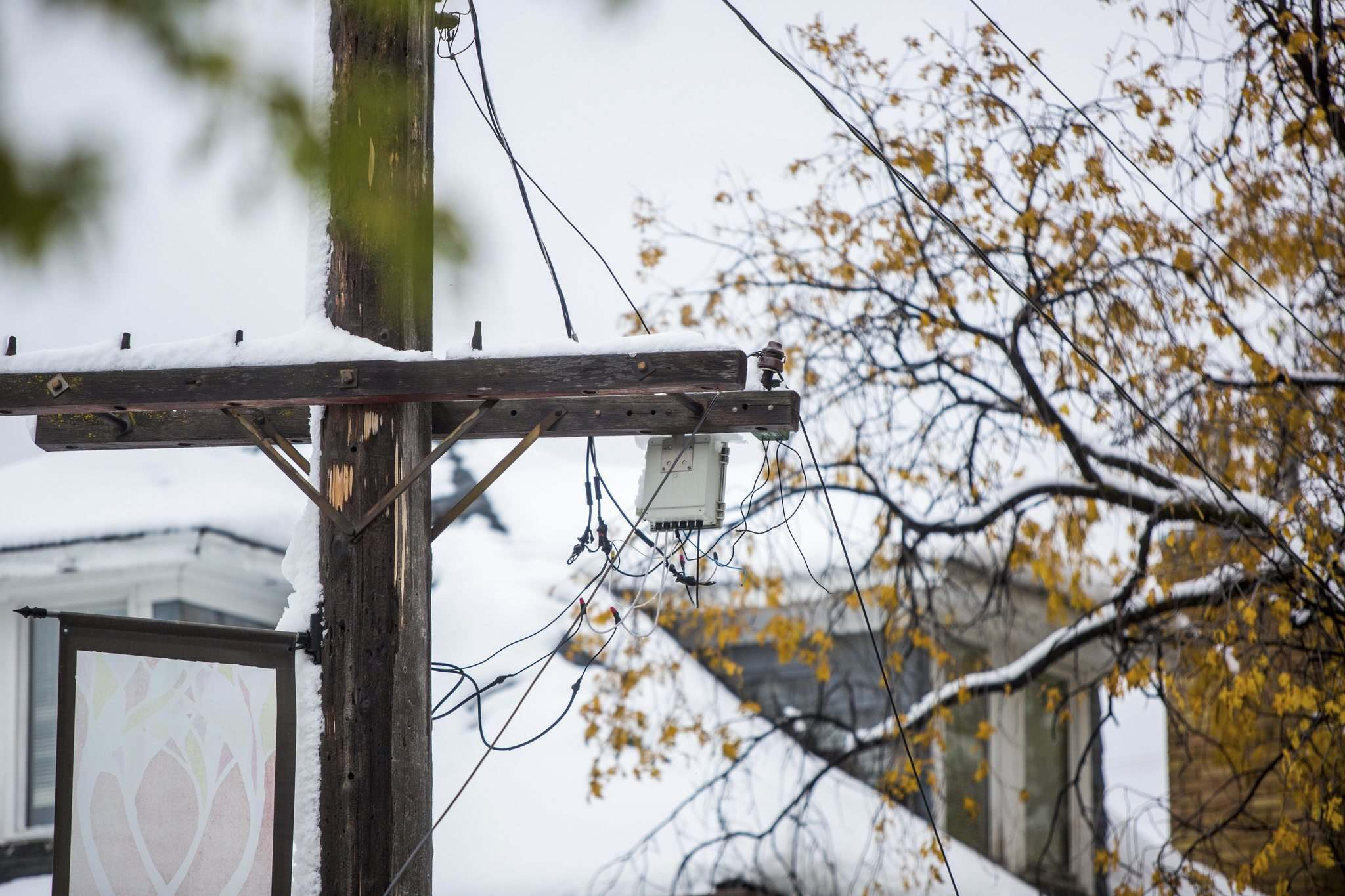 MIKAELA MACKENZIE / WINNIPEG FREE PRESS</p><p>A downed power line is taped off on Westminster Avenue at Canora Street on Saturday.</p>