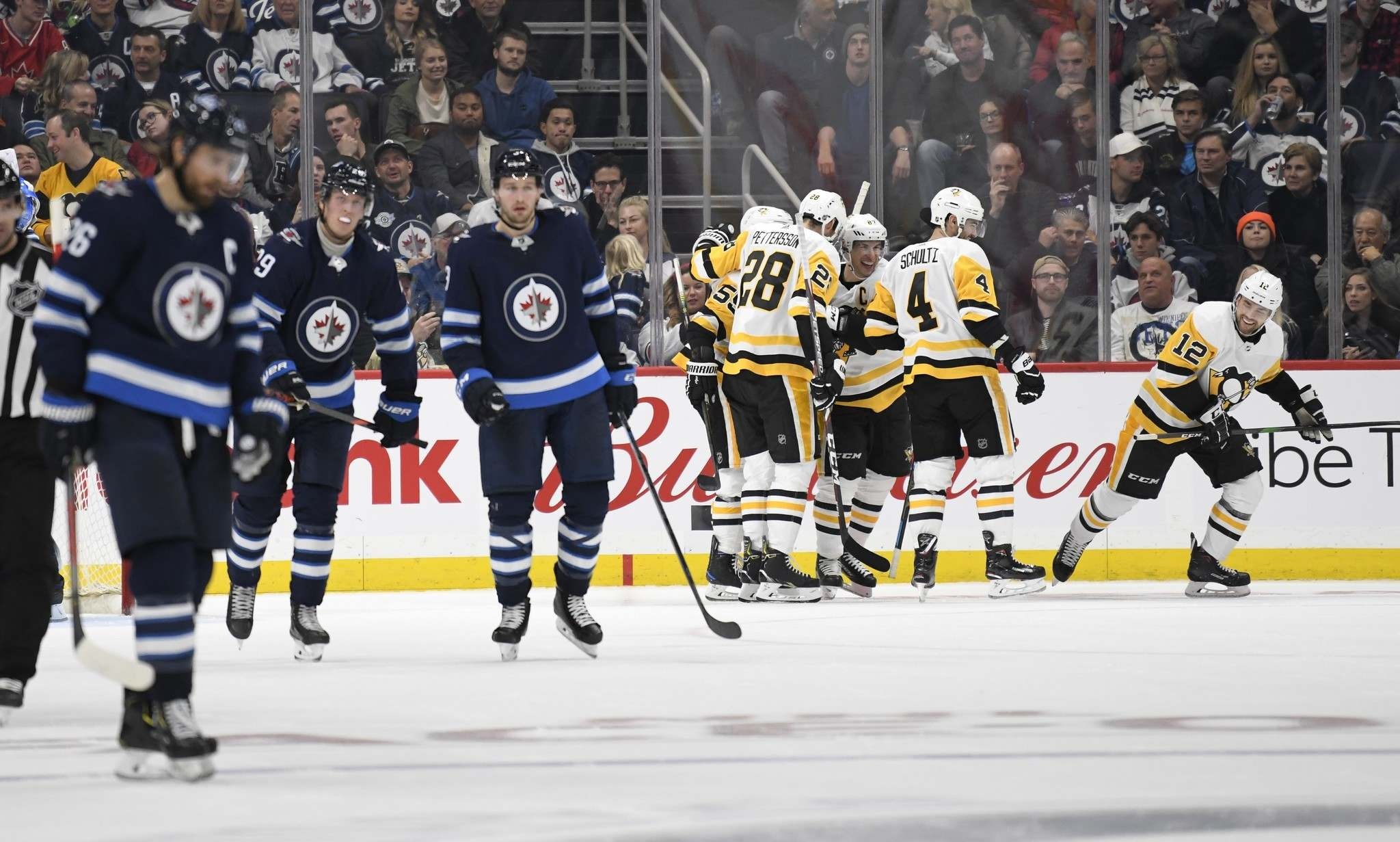 Mark Scheifele, Blake Wheeler, Patrik Laine, Kyle Connor, Nikolaj Ehlers and Josh Morrissey were a combined minus-18 against the Penguins on Sunday. (Fred Greenslade / The Canadian Press)</p>
