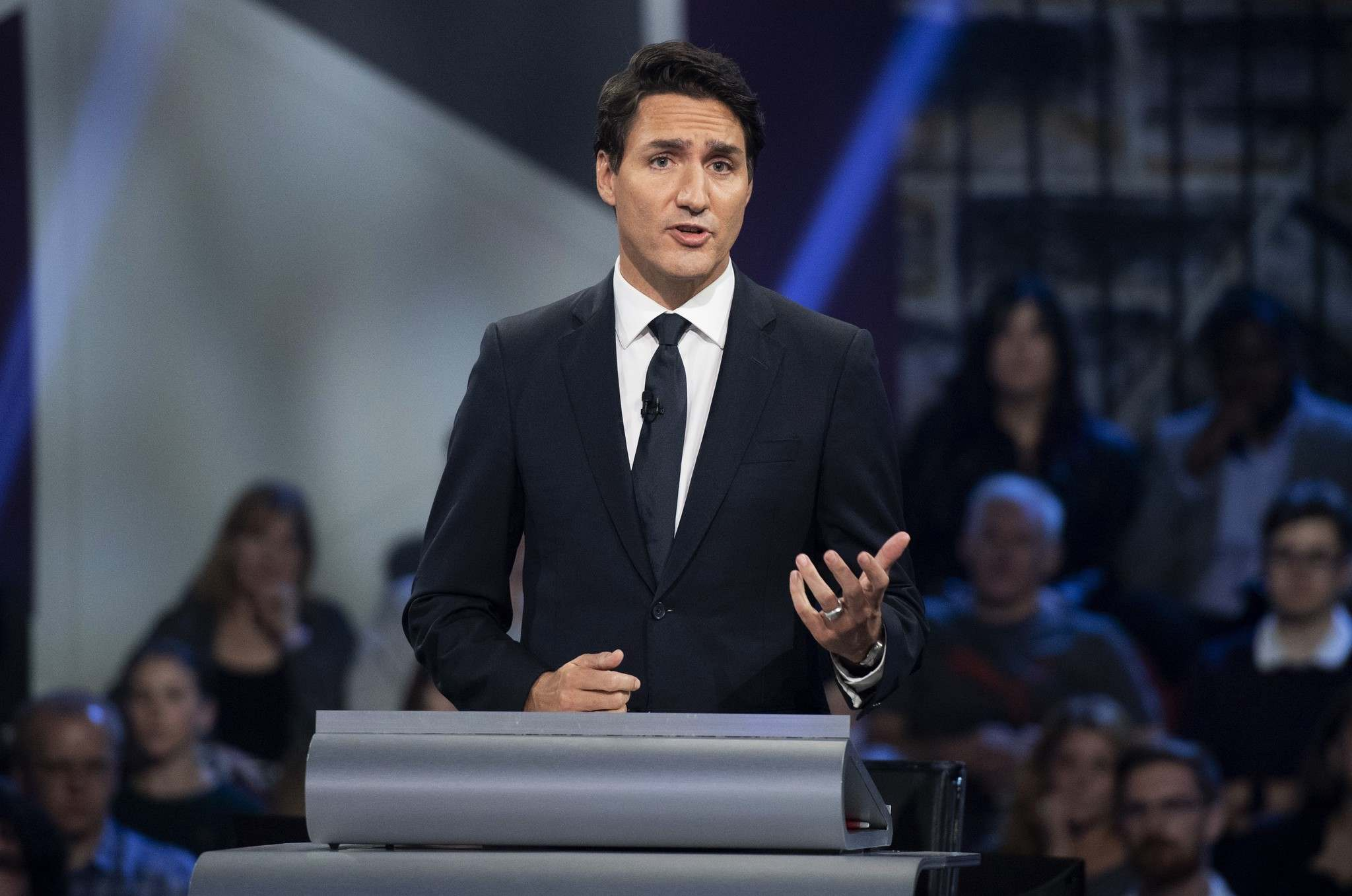 Sean Kilpatrick / The Canadian Press</p><p>Liberal leader Justin Trudeau responds to a question during the Federal leaders' debate in Gatineau, Que. on Monday October 7, 2019.</p>