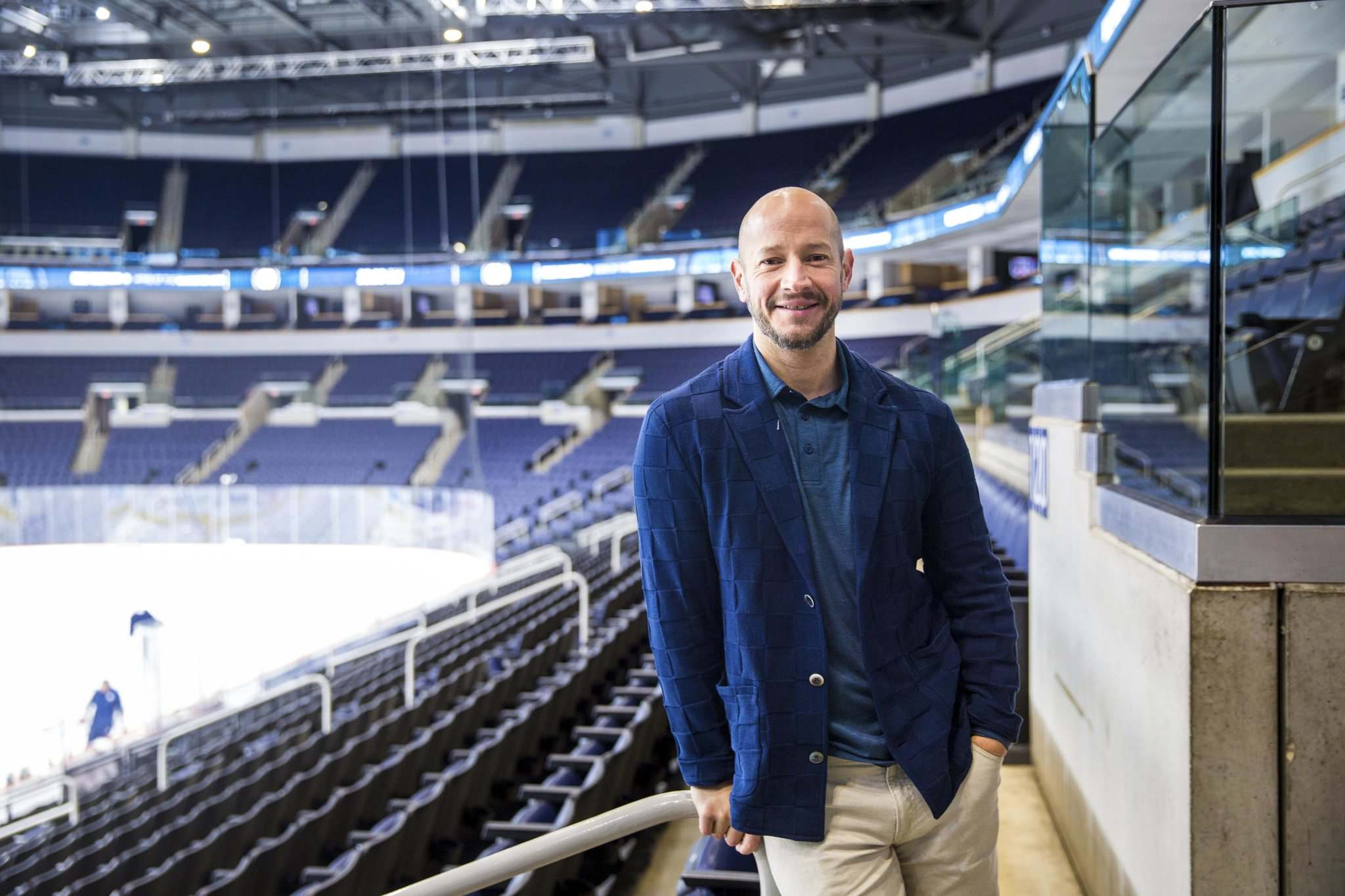 Goaltending guru Adam Francilia at Bell MTS Place during a nine-day visit to Winnipeg where he is keeping tabs on Winnipeg Jets Connor Hellebuyck and Laurent Brossoit, two of his most important clients.