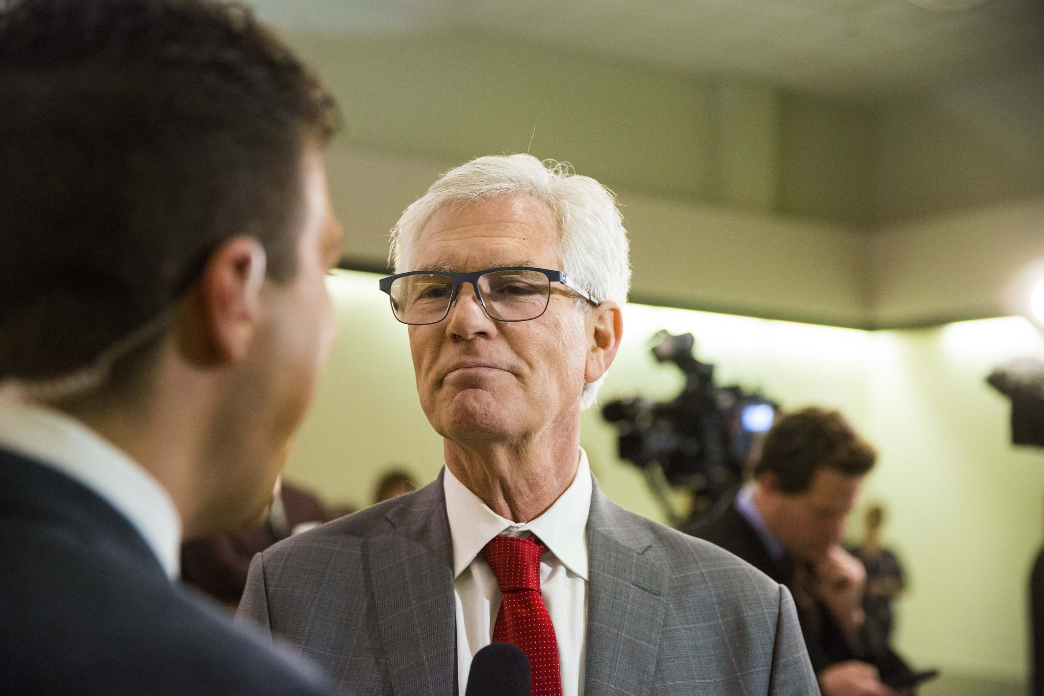Liberal candidate Jim Carr speaks to the media about his win in Winnipeg South Centre at the Caboto Centre in Winnipeg on Monday. (Mikaela MacKenzie / Winnipeg Free Press files)