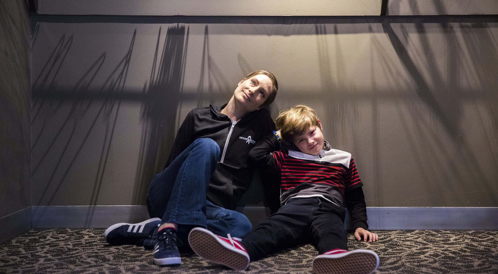 Catherine Wreford portrays the most mature version of the character Alison, and her son, Elliot Ledlow, plays Alison's younger brother in the Royal MTC production Fun Home.