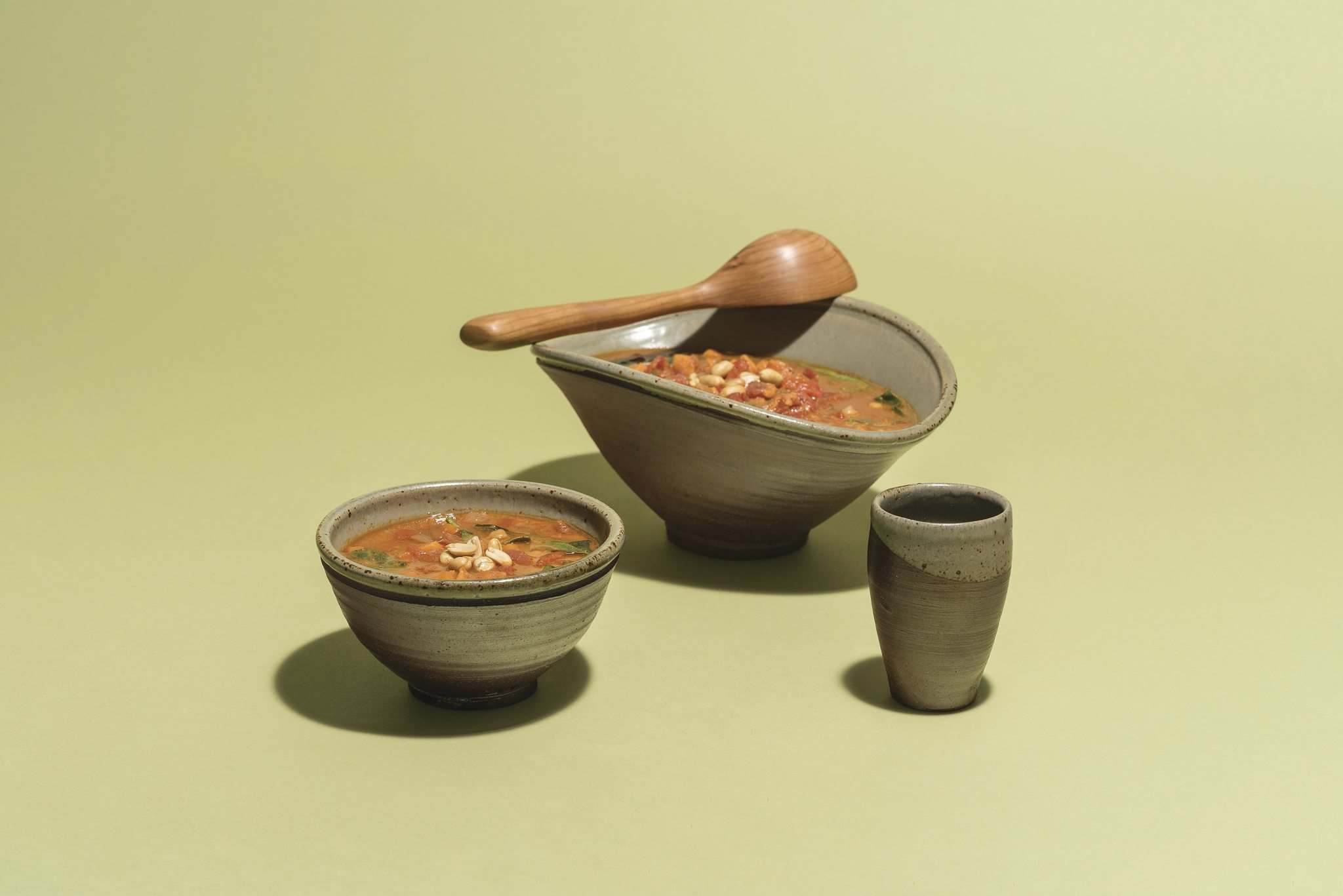 African Peanut Soup, with ceramics by David McMillan. The soup is part of Verde Juice Bar's regular menu rotation and has become a customer favourite. (Lianed Marcoleta photo)