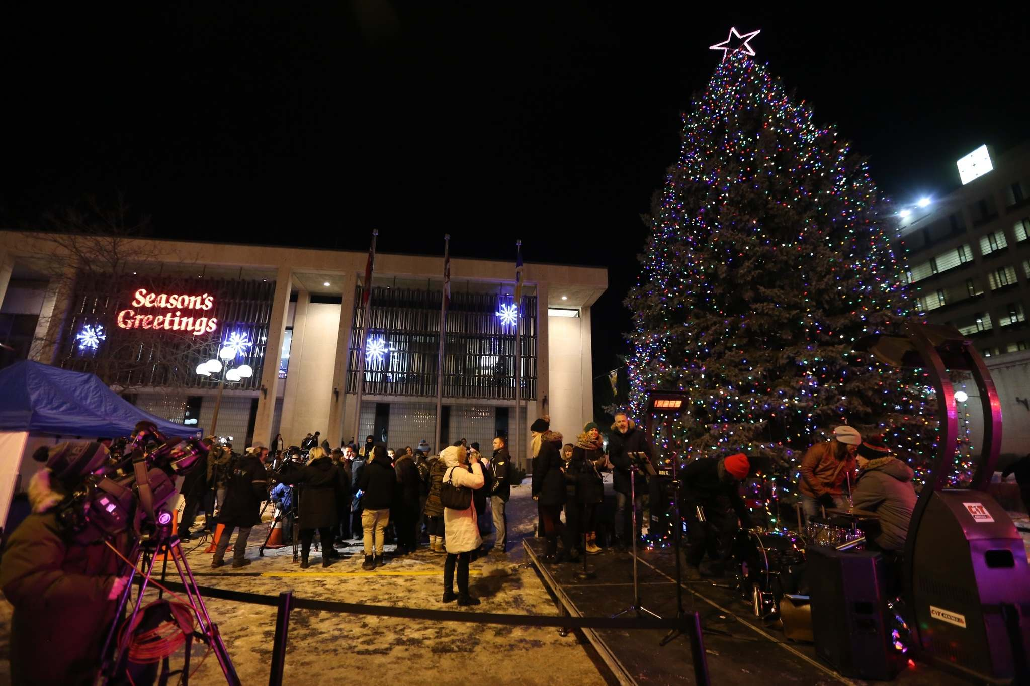 The mayor usually lights the tree at a ceremony, which might not happen this year. (Trevor Hagan / Winnipeg Free Press files)
