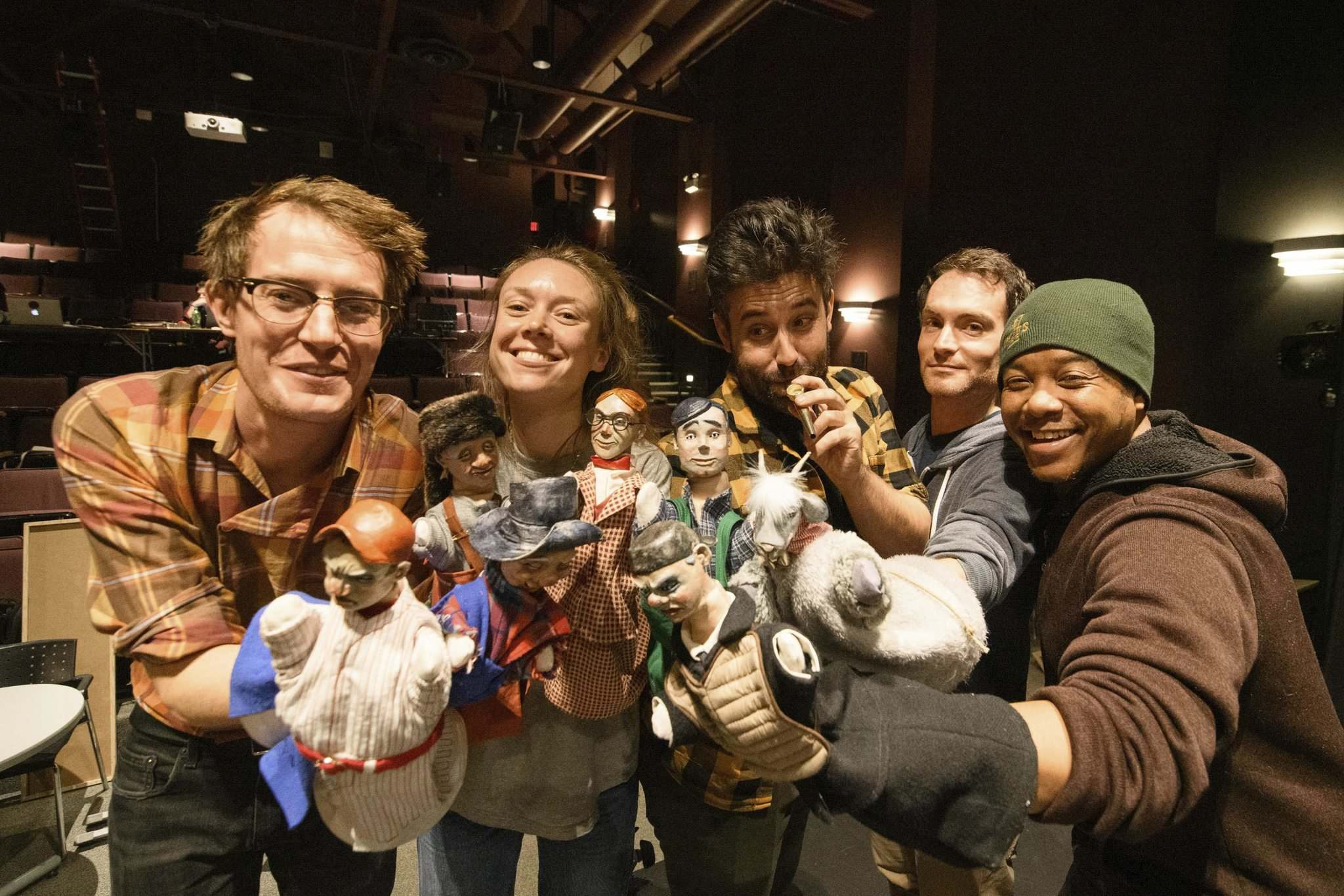 Toby Hughes (from left), Katherine Cullen, James Smith, Jesse Nerenberg and Ray Strachan with puppets on the set of The Golem's Mighty Swing. (Mike Sudoma / Winnipeg Free Press)