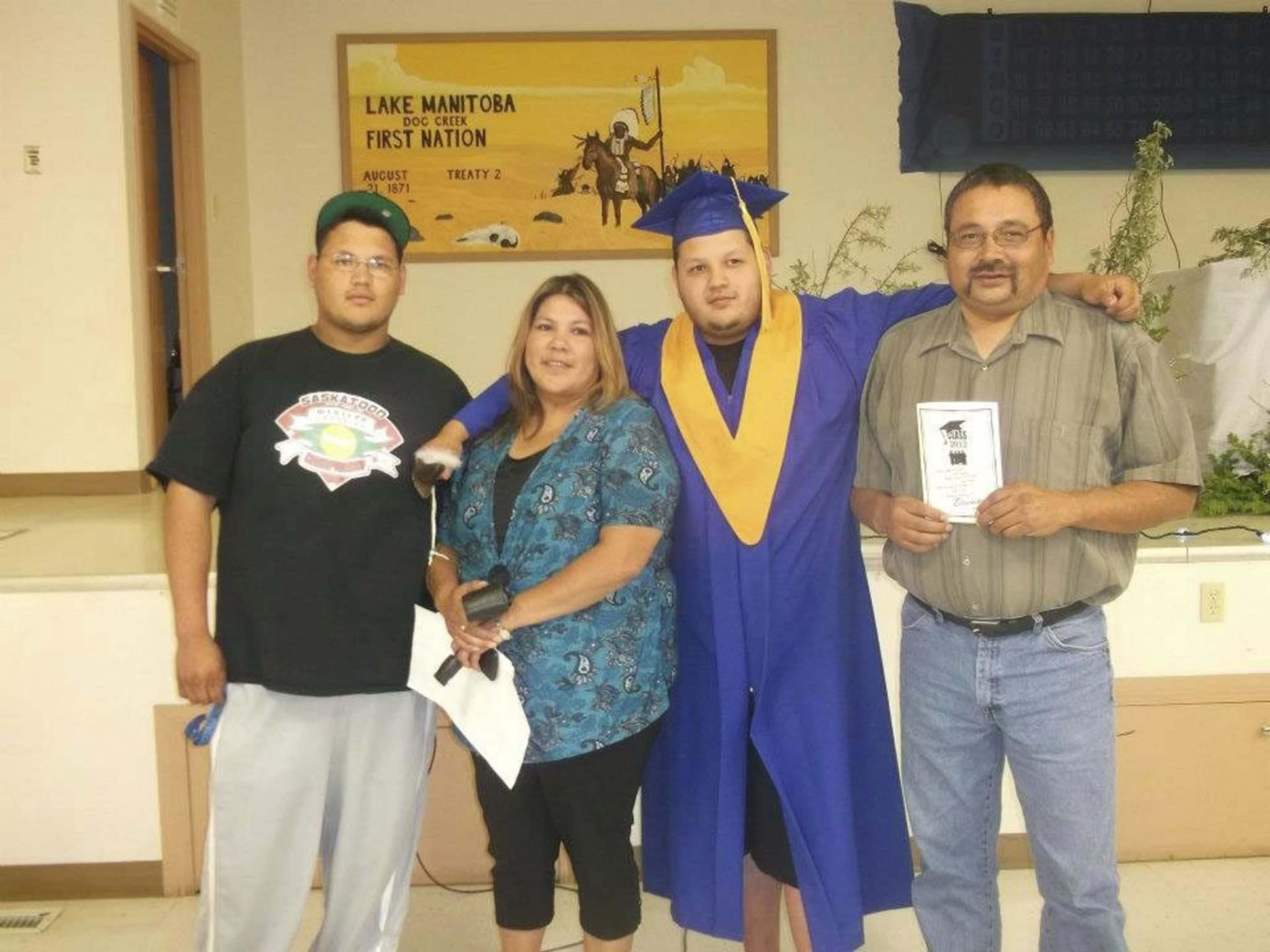 Todd (left) with his parents and brother at Avery's high school graduation. Todd Maytwayashing was working for Forbes Brothers Ltd., a sub-contractor of Manitoba Hydro, helping build the Keeyask transmission line near Gillam when he was killed while helping secure a load of steel off a truck in 2018.</p>