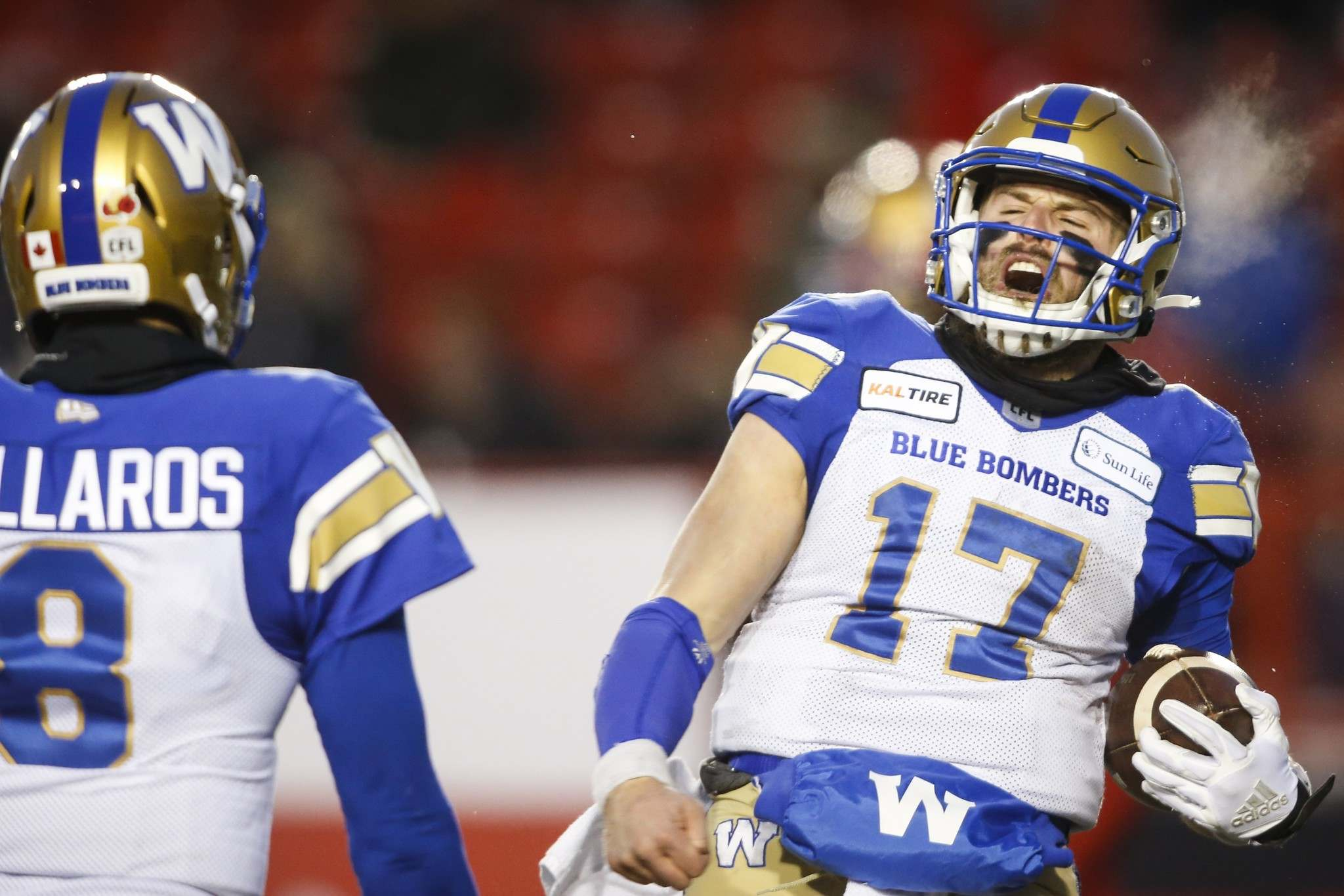 Quarterbacks Zach Collaros and Chris Streveler proved to be a great one-two punch in Calgary last weekend. (Jeff McIntosh / The Canadian Press files)</p>