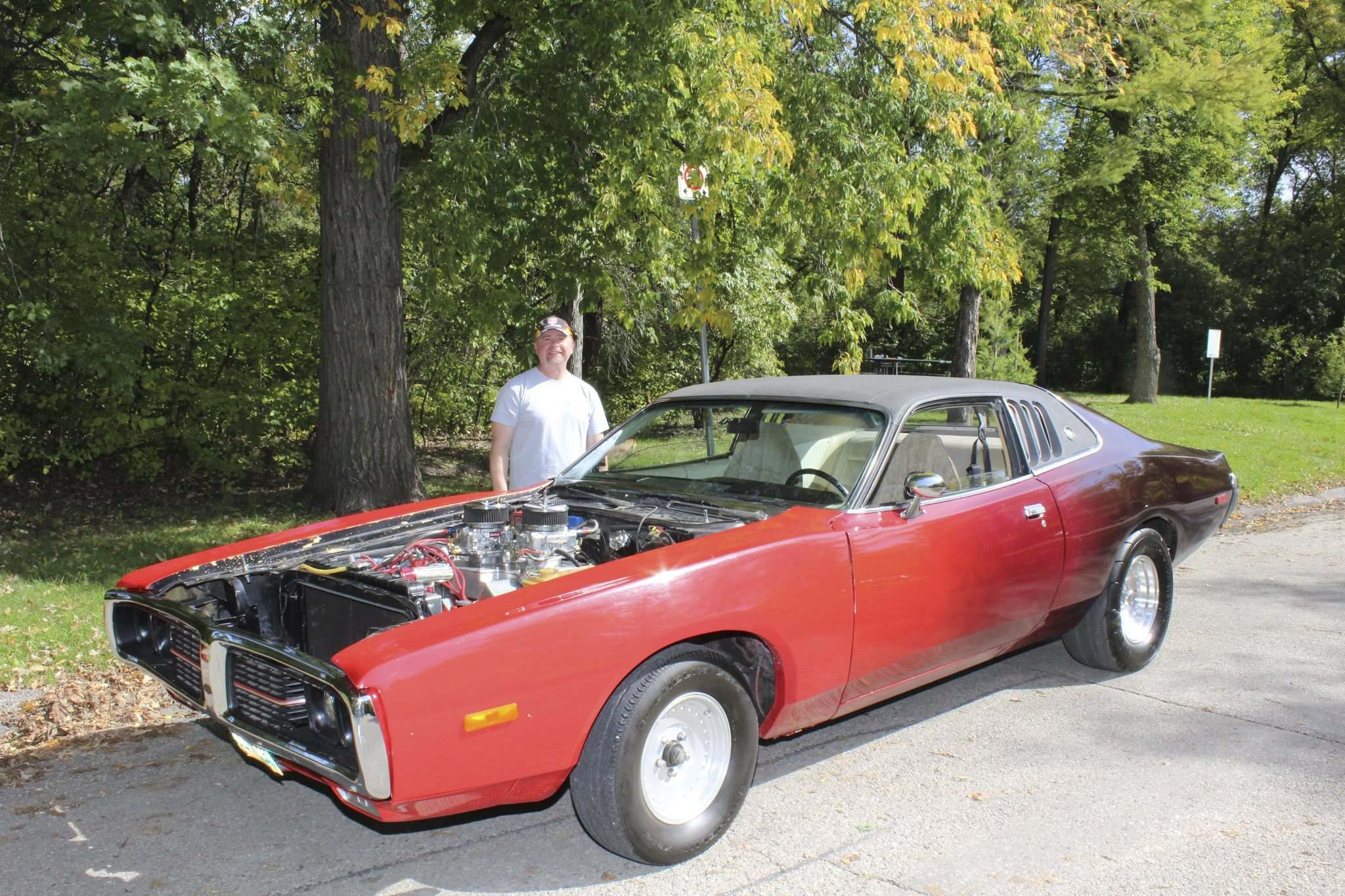 photos by Larry D'Argis</p><p>Richard Langille with his 1974 Charger SE, which he bought in 1985 at an auction in Gimli for $799.</p>