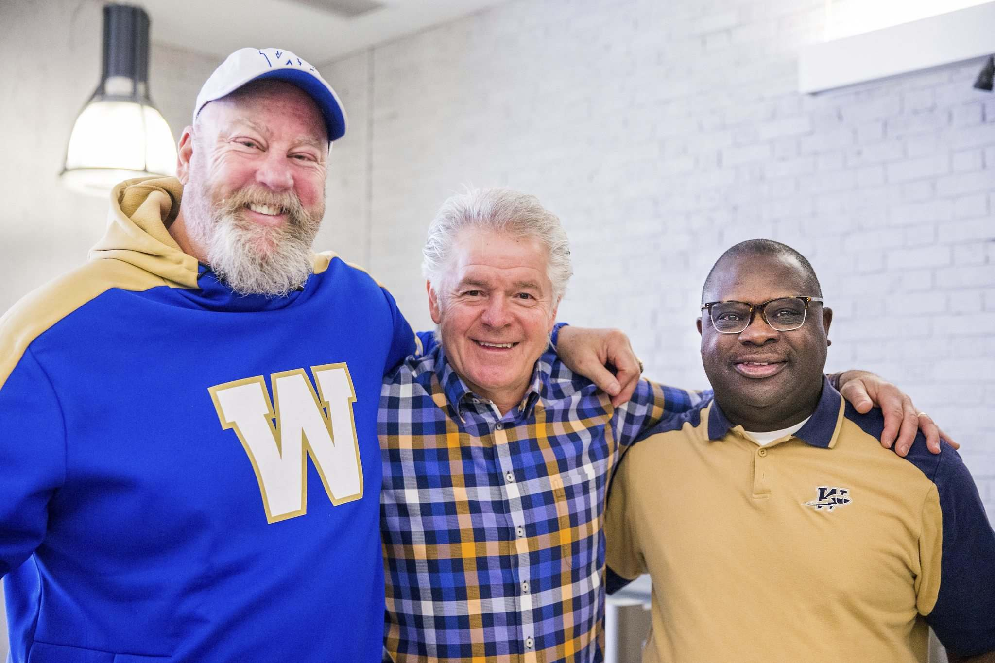 MIKAELA MACKENZIE / WINNIPEG FREE PRESS</p><p>Former Bombers (from left) Chris Walby, Joe Poplawski and James Murphy got together to discuss their playing days during an event at the Manitoba Sports Hall of Fame on Wednesday.</p>