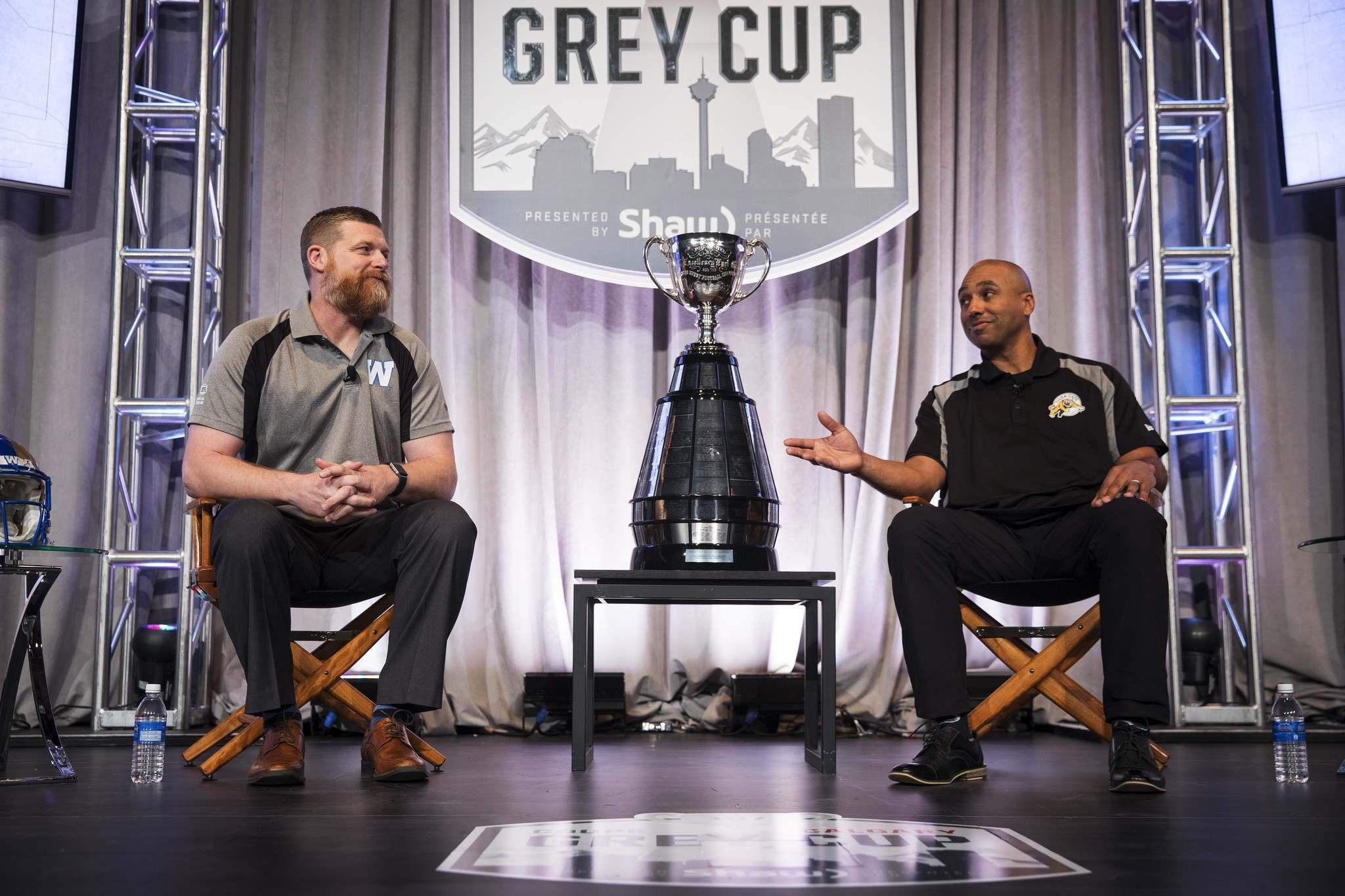 <p>Winnipeg Blue Bombers head coach Mike O'Shea, left, and Hamilton Tiger-Cats head coach Orlondo Steinauer during the coaches news conference at the CFL's Grey Cup week in Calgary, Wednesday.</p>
