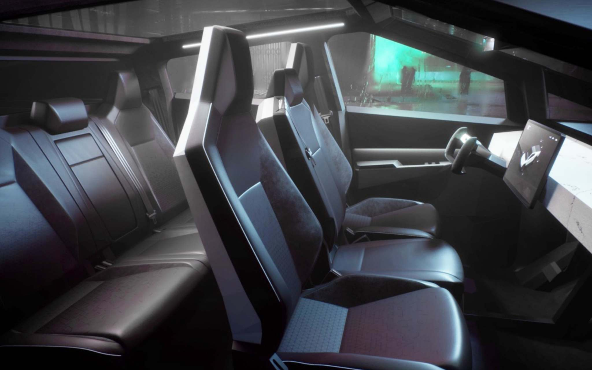 Tesla</p><p>The Cybertruck's cabin can fit six people.</p></p>