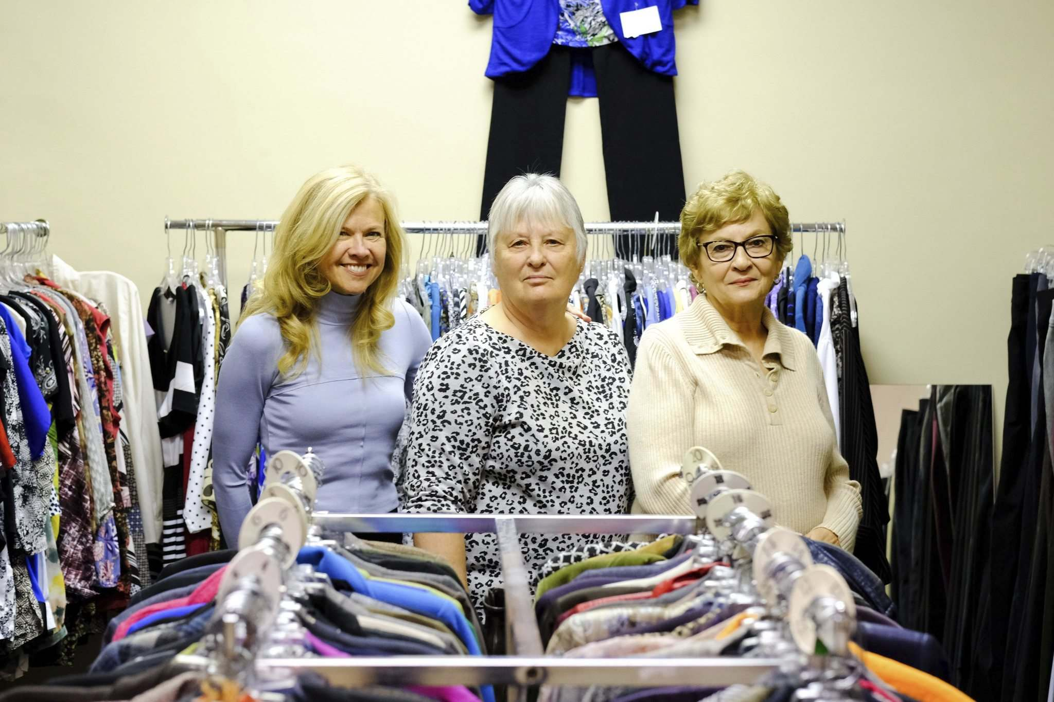 Mike Sudoma / Winnipeg Free Press</p><p>Jane Martens (from left), Susan Taillieu and Tannis Johnston volunteer with Dress For Success, a program that helps disadvantaged women by providing them with professional business clothing for job interviews.</p>