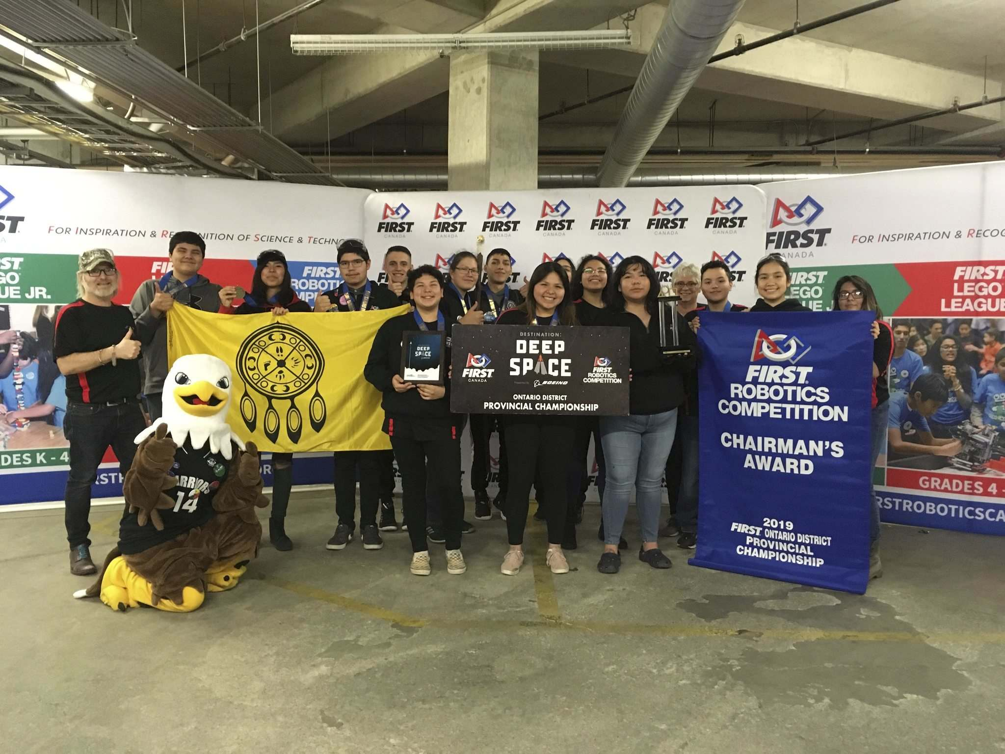 All-Indigenous robotics team from Manitoulin Island in NW Ontario, one of the top high school science performers in Canada and the first all-First Nation robotics team to compete at the World Championships. (Supplied)