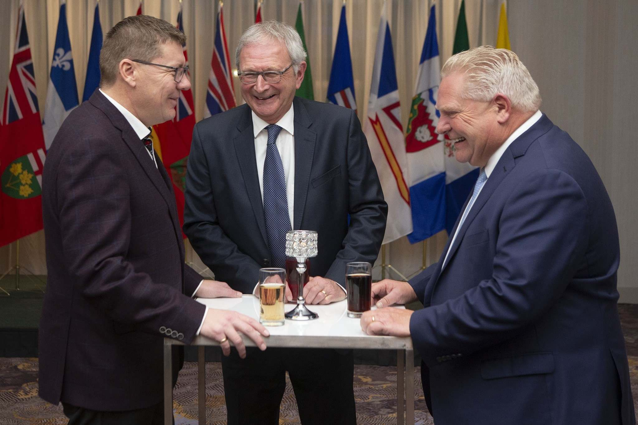 Saskatchewan Premier Scott Moe (from left), New Brunswick Premier Blaine Higgs and Ontario Premier Doug Ford signed an agreement Sunday to promote small modular reactors (SMRs) — leaving Manitoba as the only province under Trudeau's carbon tax to not be part of the effort. (Chris Young / Canadian Press files)</p>