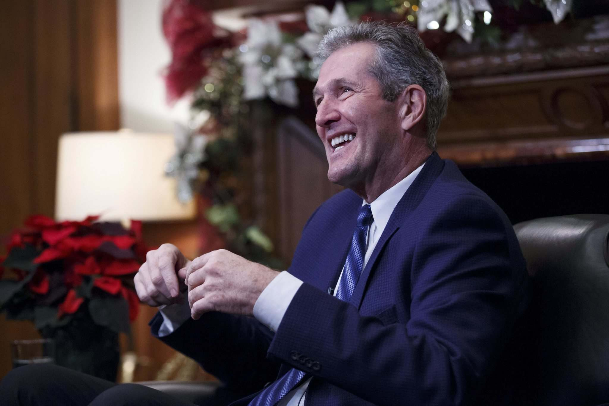 """""""Money without a plan is not really money well-allocated. Start with a planning process. That's what we're partnering with the city to do,"""" Brian Pallister said. (Mike Deal / Winnipeg Free Press)"""