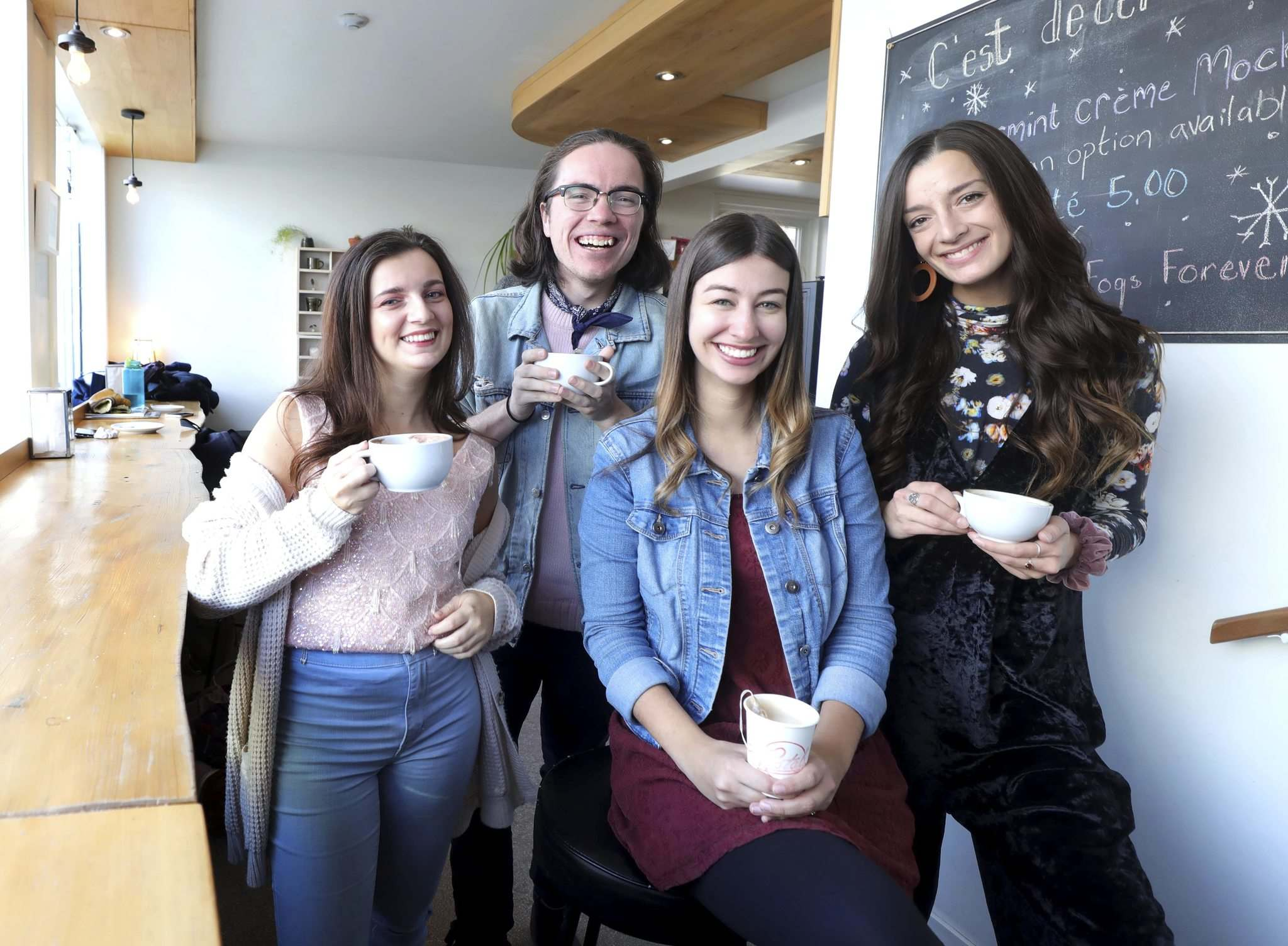 RUTH BONNEVILLE / WINNIPEG FREE PRESS</p><p>Erin Meagan Schwartz (from left), Tanner Manson, Taylor Gregory and Lindsay Johnson are the founders of the Pop Up Theatre organization.</p></p>