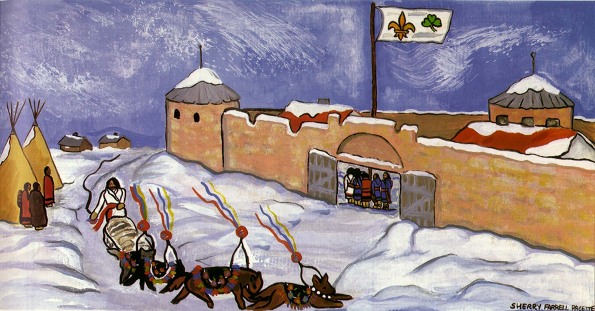 Fort Garry, in Métis Hands, by artist Sherry Farrell Racette. The painting depicts the Métis occupation of Upper Fort Garry in 1869 and includes the provisional government's new flag. (Courtesy of the Gabriel Dumont Institute) </p>