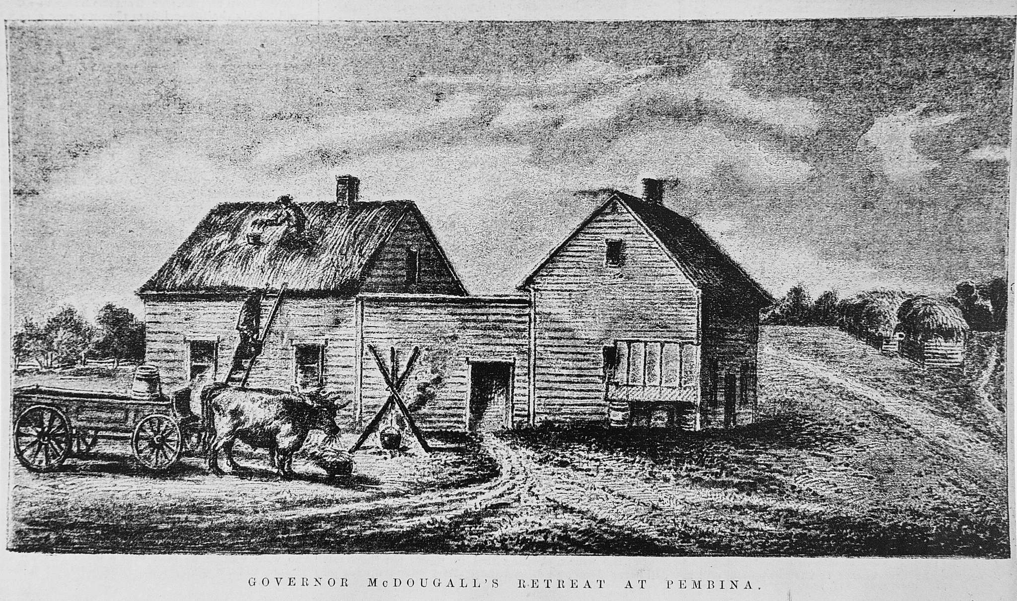 William McDougall's retreat at Pembina. (Archives of Manitoba) </p>