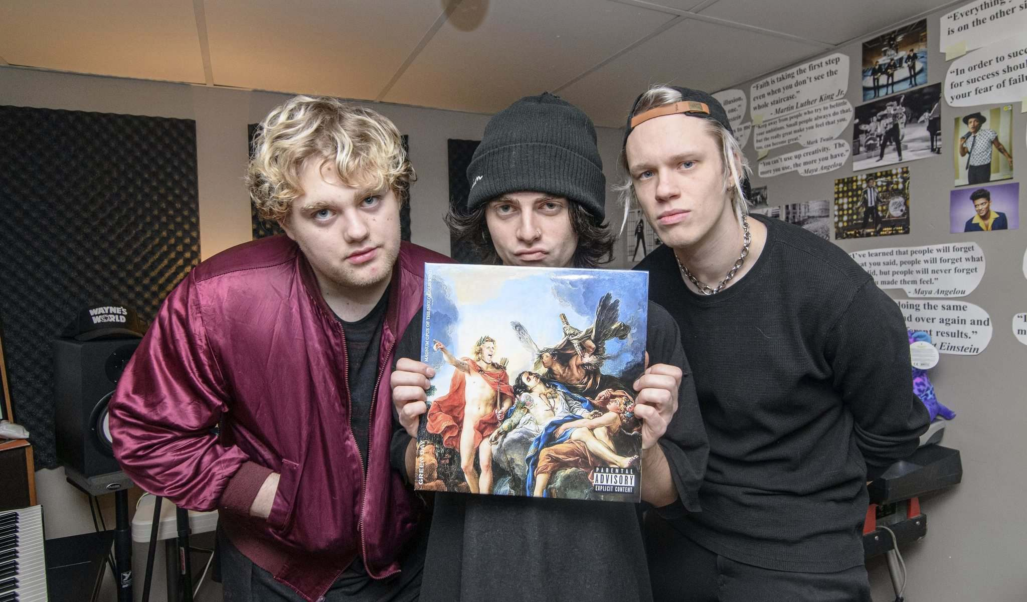 Riley Horbacio (from left), Braedon Horbacio and Ian Willmer of Panicland wrote a Green Day fan-fiction album, combining all the styles and sounds they loved the most from other Green Day records. (Mike Sudoma / Winnipeg Free Press)