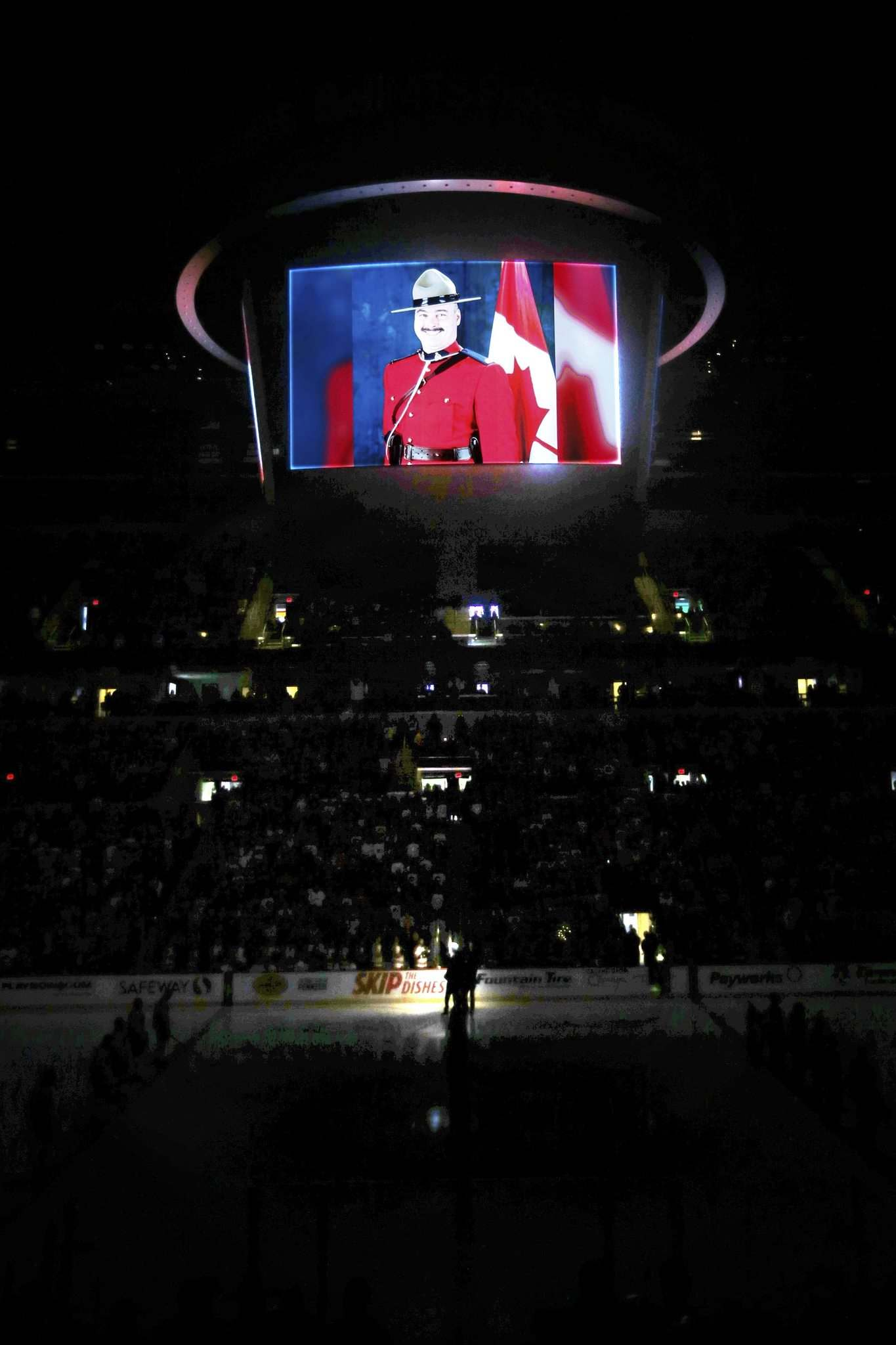 JOHN WOODS / WINNIPEG FREE PRESS</p><p>Const. Allan Poapst, who was killed in a collision while on duty, is honoured at the Winnipeg Jets game Sunday at Bell MTS Place.</p></p>