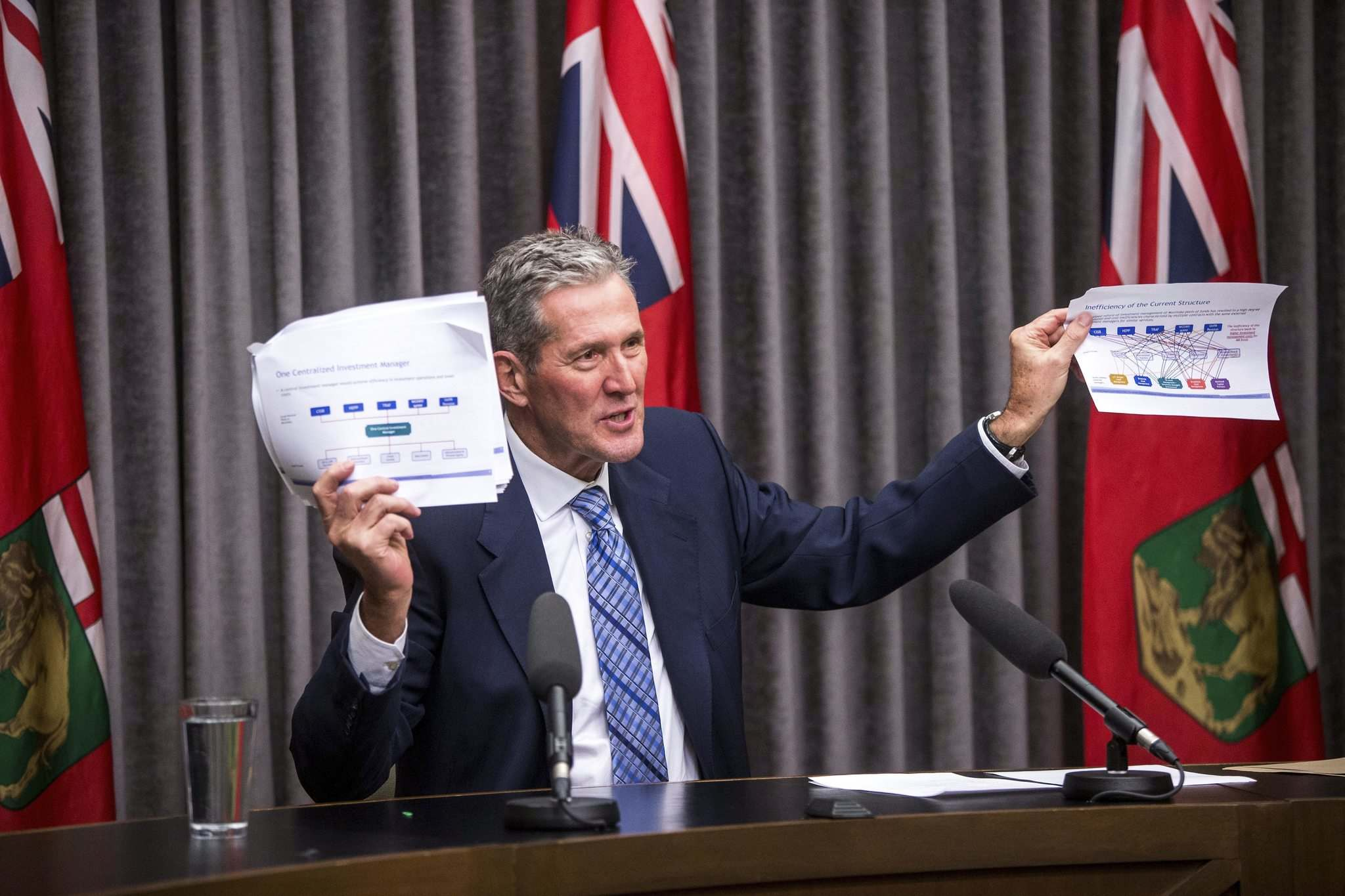 """""""So I see this as an opportunity to our public-sector pension fund managers to work together to end this inefficiency. And I'm asking them to develop a plan so that we can reduce the fees that we're currently paying to managers in places like Toronto and New York, and work together to purchase management services as a group,"""" Premier Brian Pallister said. (Mikaela MacKenzie / Winnipeg Free Press)"""