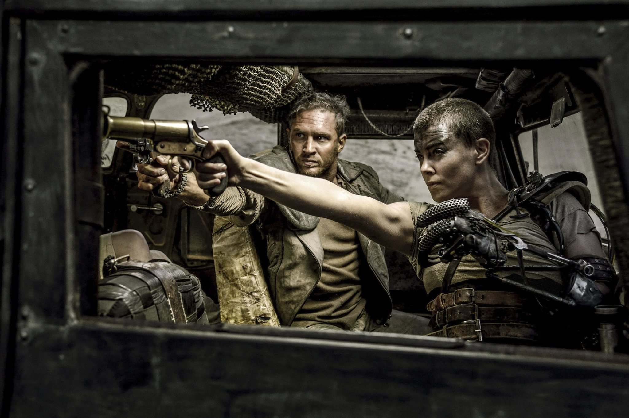 Tom Hardy and Charlize Theron star in the film Mad Max: Fury Road. (Jasin Boland / Warner Bros. Pictures)