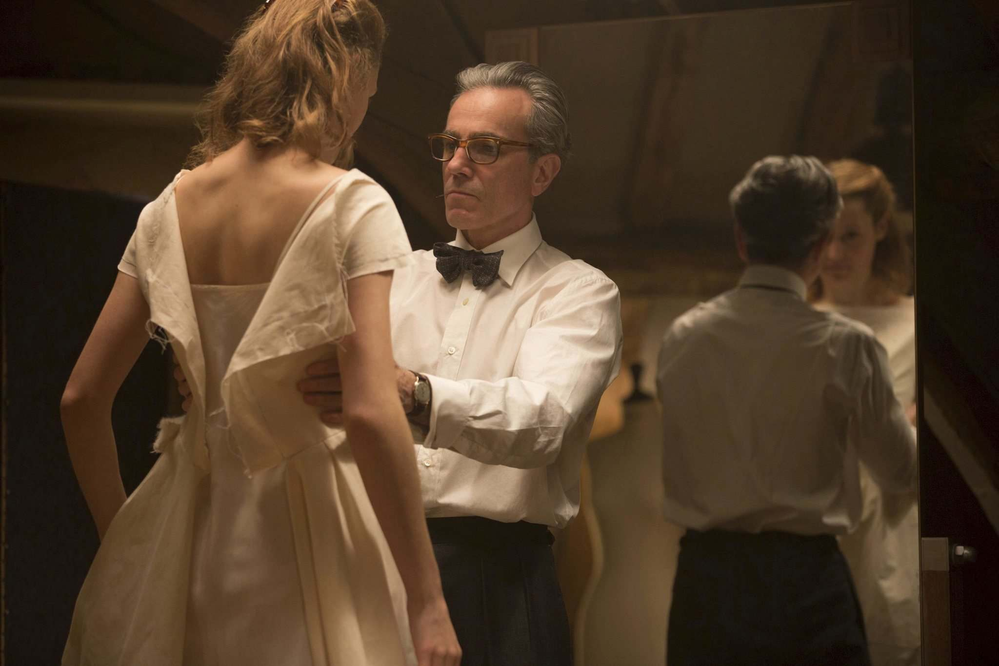 Vicky Krieps, left, and Daniel Day-Lewis in  Phantom Thread. (Laurie Sparham / Focus Features)