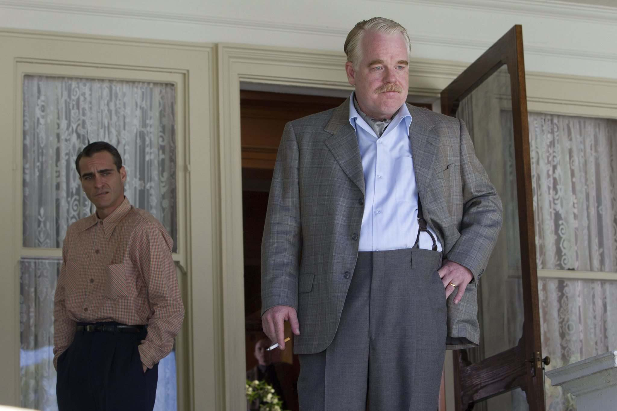 Joaquin Phoenix (left) and Philip Seymour Hoffman in The Master. (The Weinstein Company)