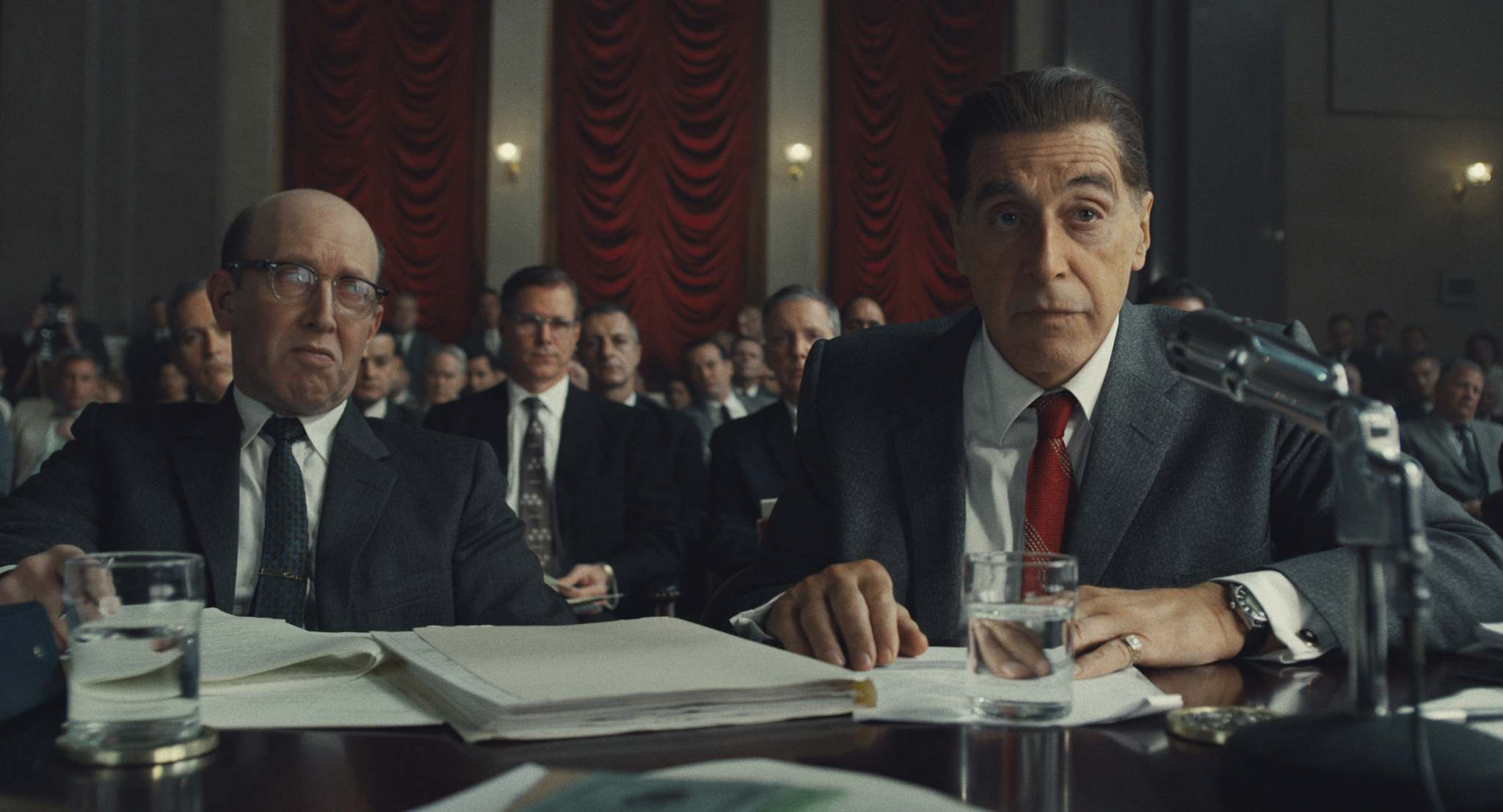"Netlfix/TNS</p><p>Al Pacino as Jimmy Hoffa in the Senate chambers in ""The Irishman.""</p>"