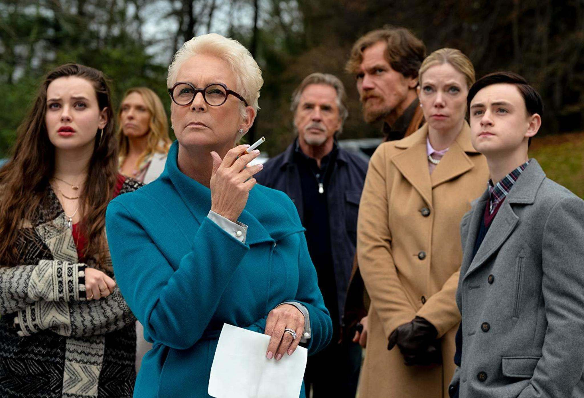 Lionsgate</p><p>Katherine Langford (from left), Toni Collette, Jamie Lee Curtis, Don Johnson, Michael Shannon, Riki Lindhome and Jaeden Martell in Knives Out, one of Randall King's top films of the year.</p>