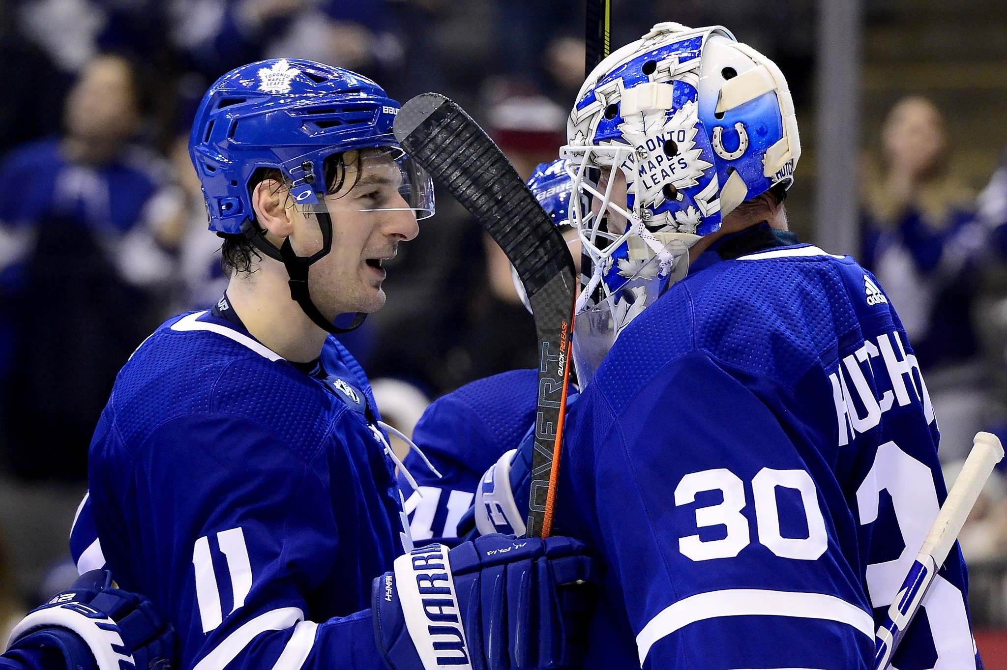 THE CANADIAN PRESS/Frank Gunn</p><p>Toronto Maple Leafs' Michael Hutchinson, right, is the No. 2 goaltender behind all-star Frederick Andersen.</p>