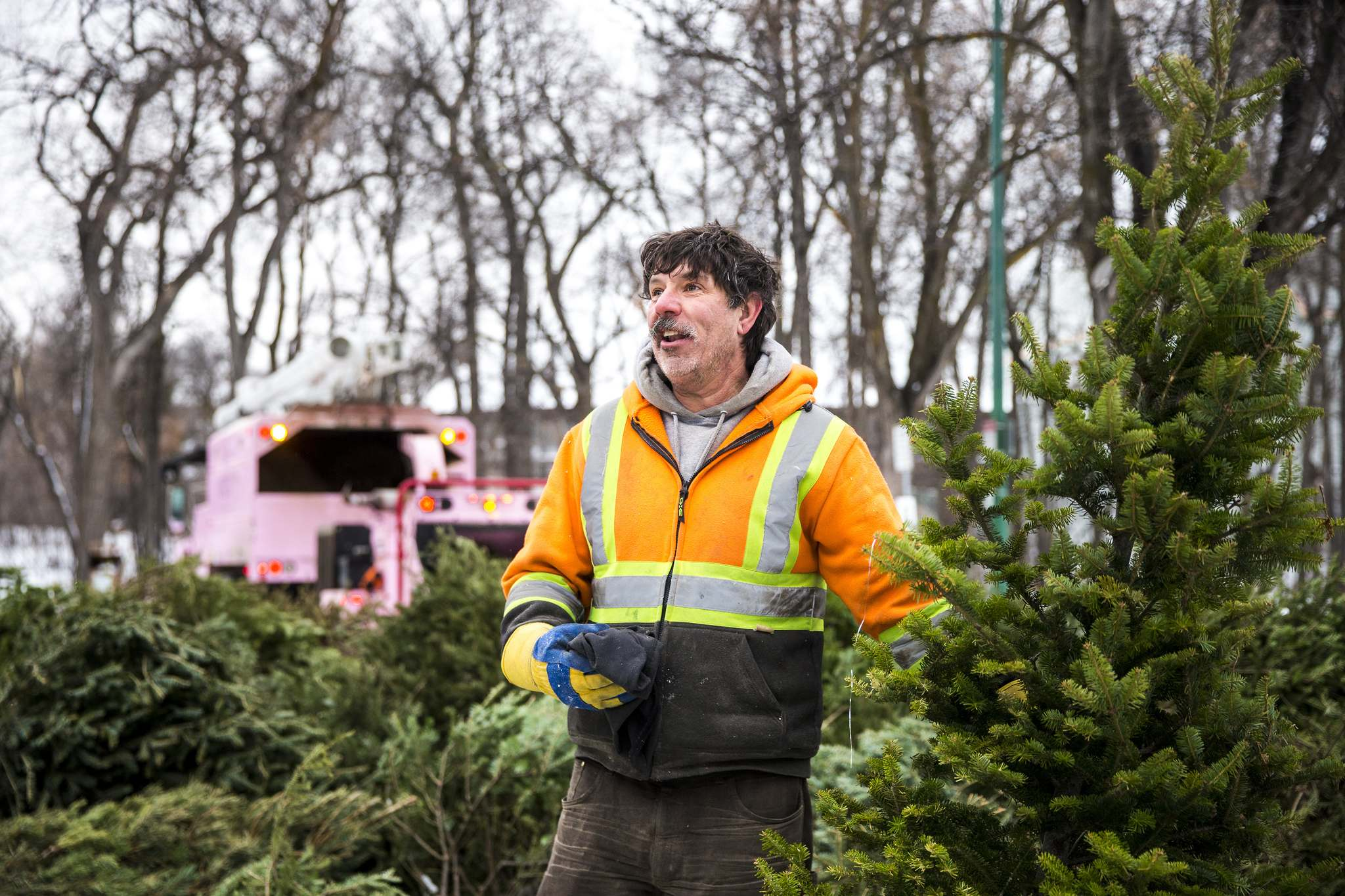 Doug Panchuk, owner of Shurwood Forest, helps remove forgotten ornaments before the trees are fed into the chipper.