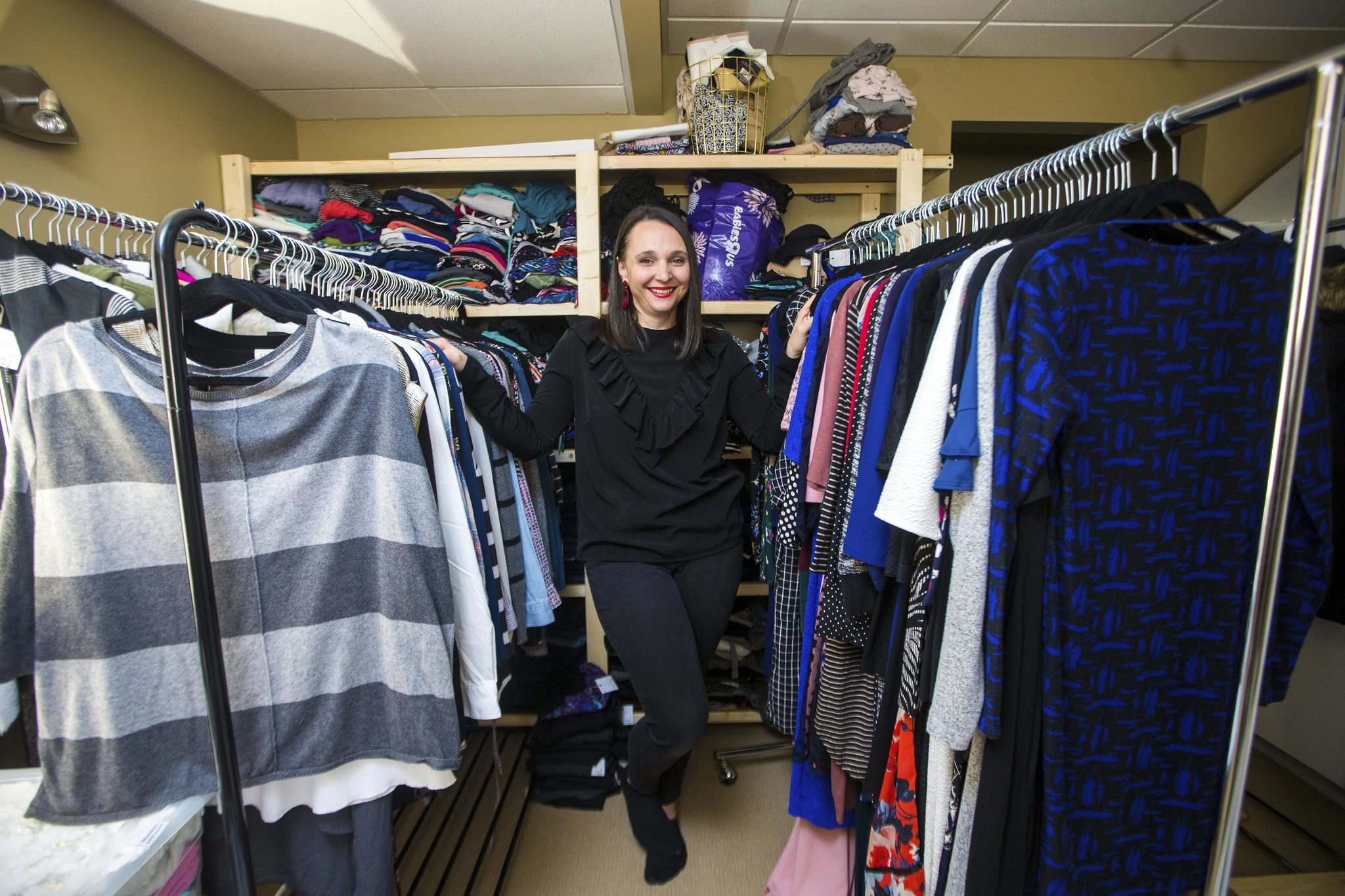 """They're at home with a newborn, or baby number two or three, they don't have time to put 20 individual items on Facebook Marketplace, barter for a dollar here and there. This way, it's given to me, it's taken care of,"" Fuga said. (Mikaela MacKenzie / Winnipeg Free Press)</p>"
