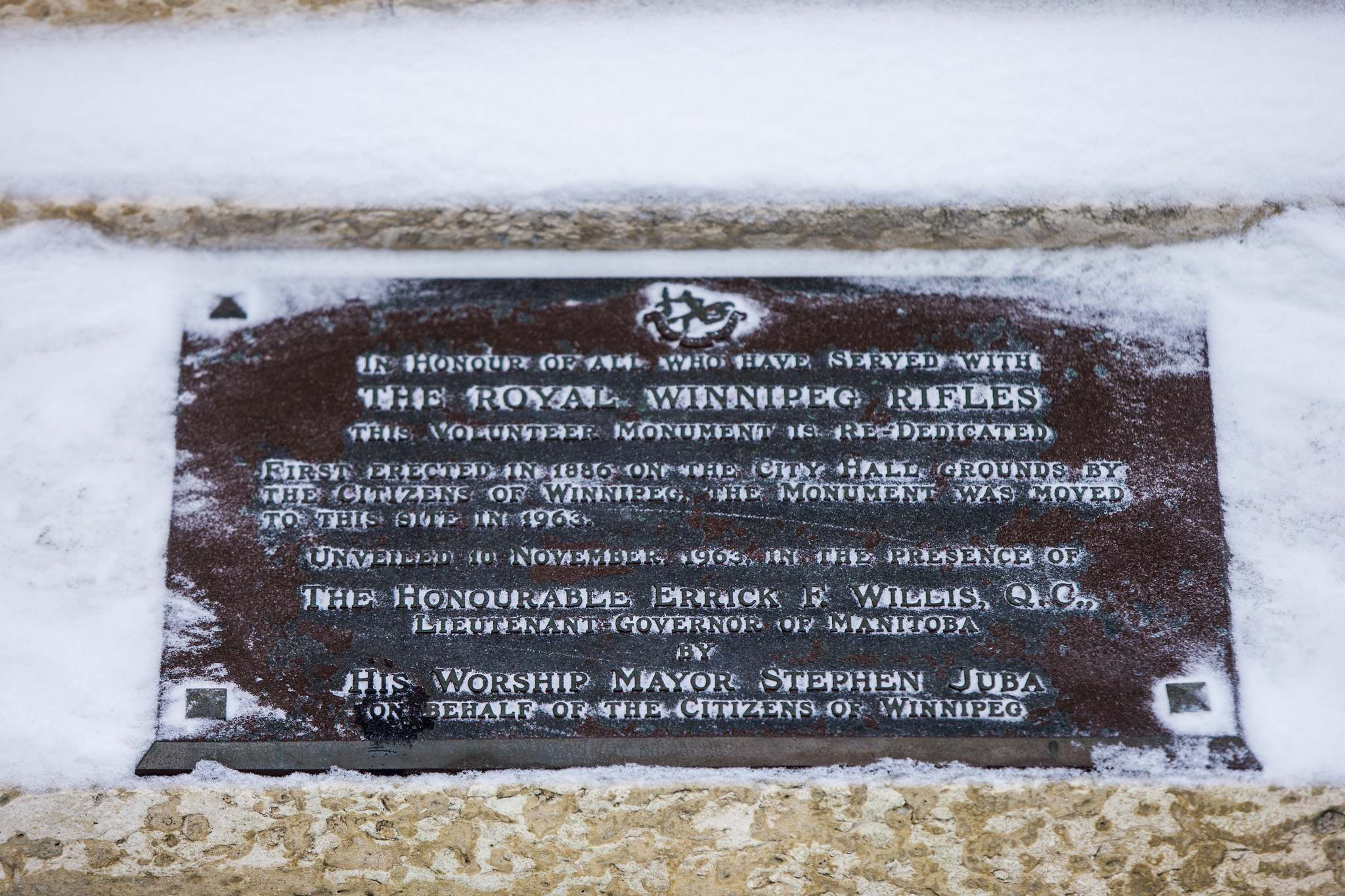 "The insciription on the plaque reads: ""In honour of all who have served with the Royal Winnipeg Rifles. This volunteer monument is re-dedicated. First erected in 1886 on the City Hall grounds by the citizens of Winnipeg, the monument was moved to this site in 1963.""  (Mikaela MacKenzie / Winnipeg Free Press)</p>"