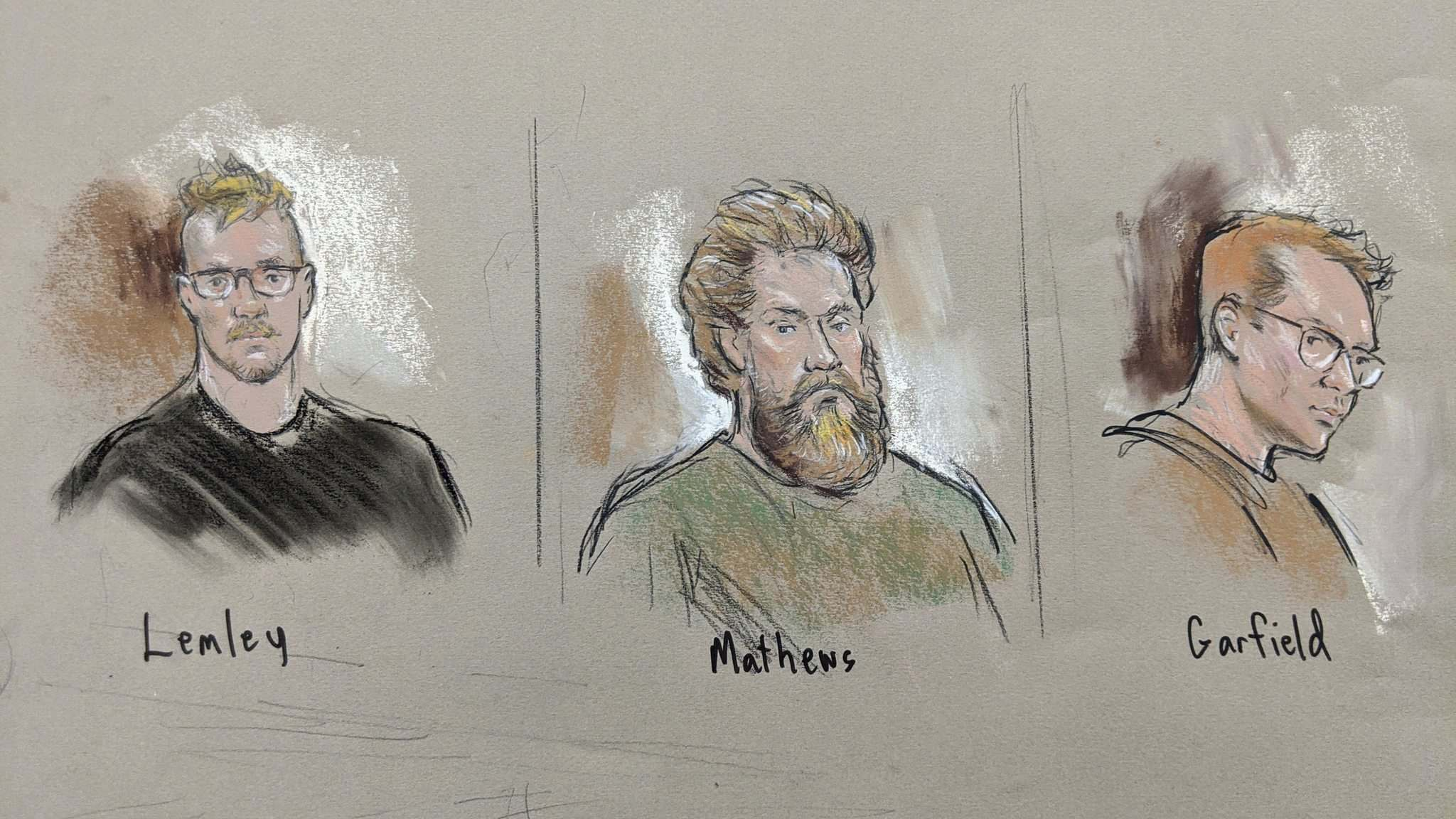 Courtroom sketches of (from left) Brian Lemley, Patrik Mathews, William Garfield Bilbrough IV. (William J. Hennessy Jr.)